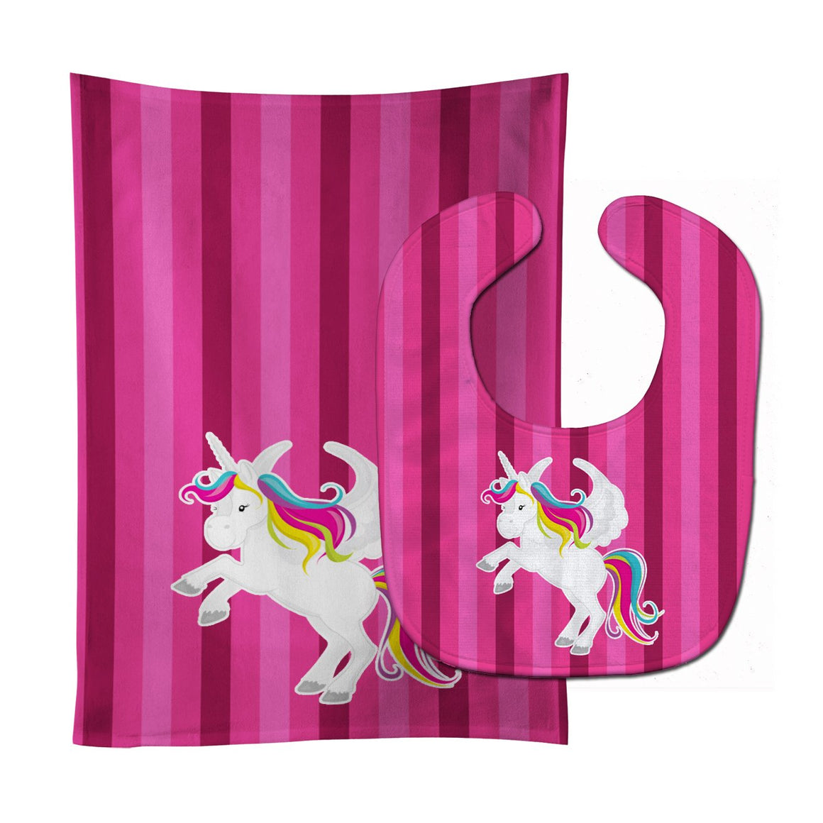 Buy this Unicorn Pink Stripes Baby Bib & Burp Cloth BB9090STBU