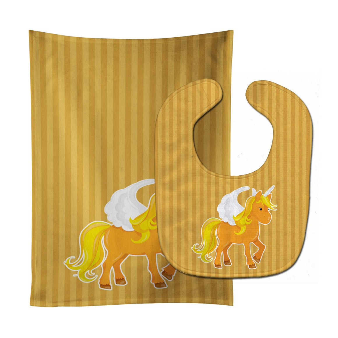 Buy this Unicorn Orange Stripes Baby Bib & Burp Cloth BB9092STBU