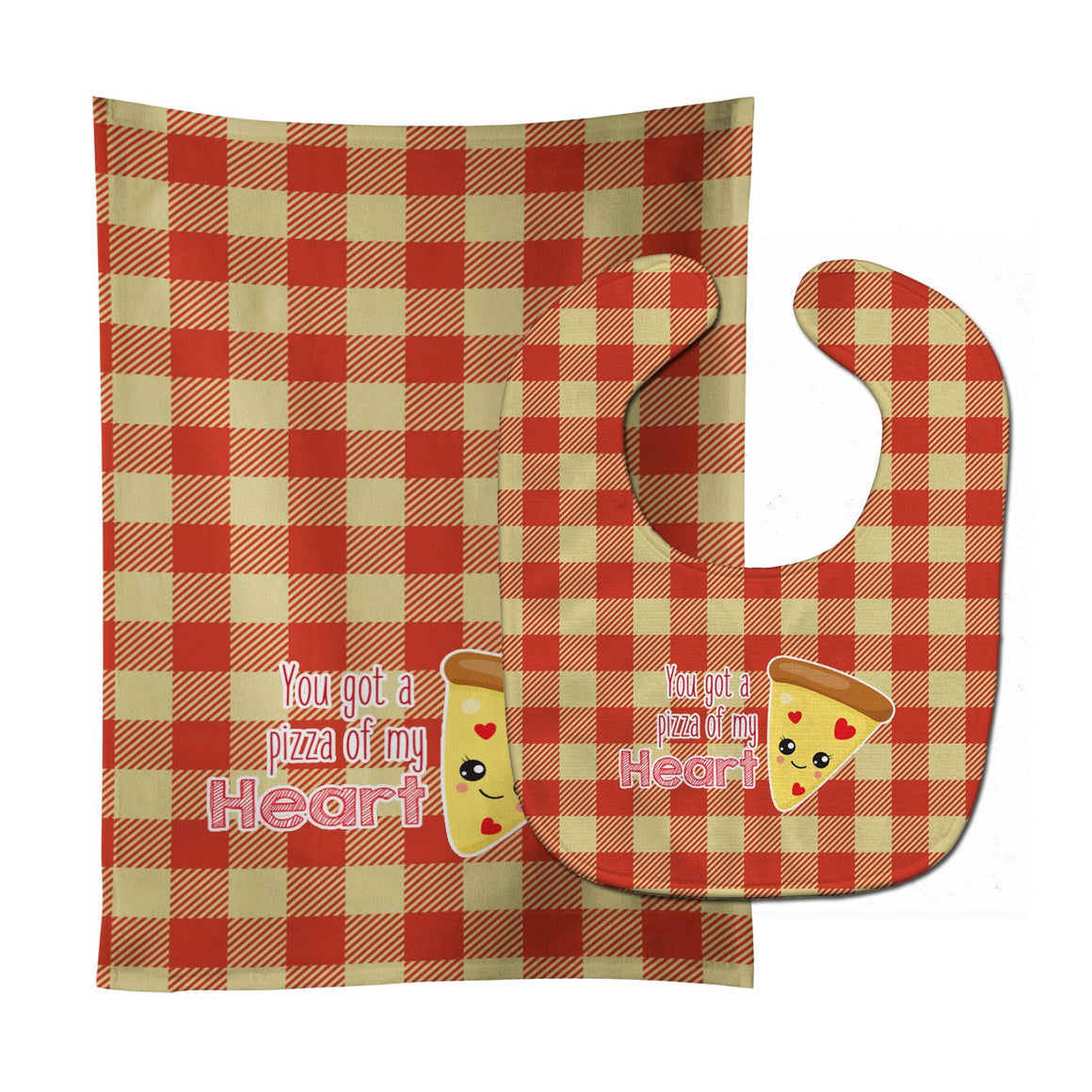Buy this You got a Pizza of my Heart Baby Bib & Burp Cloth BB9128STBU