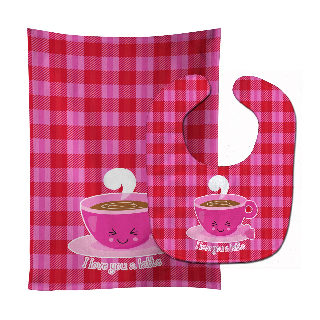 I love you a Latte Baby Bib & Burp Cloth BB9130STBU by Caroline's Treasures