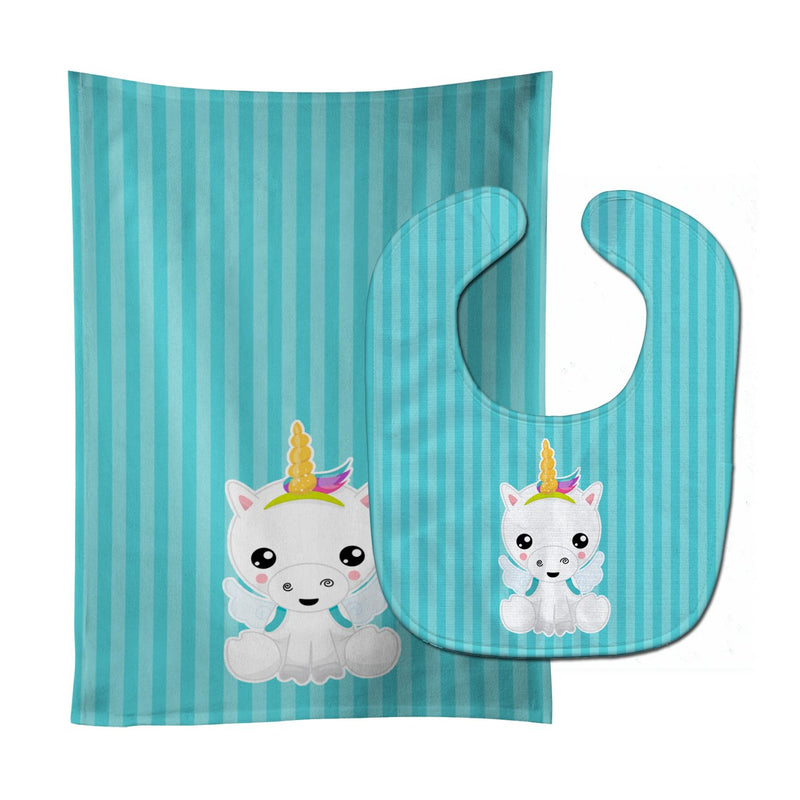Buy this Unicorn on Blue Stripes Baby Bib & Burp Cloth BB9141STBU