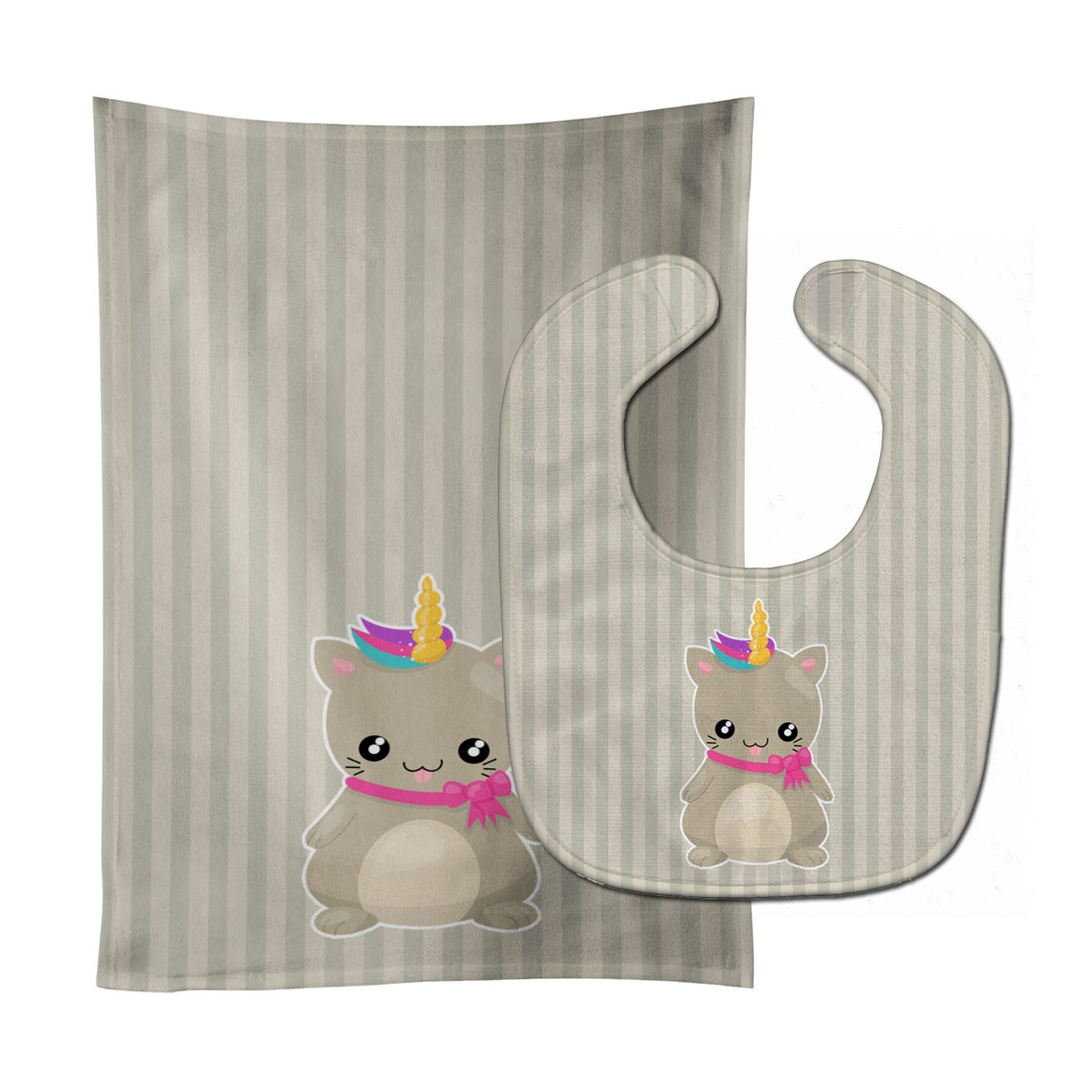 Buy this Mouse Unicorn on Stripes Baby Bib & Burp Cloth BB9144STBU