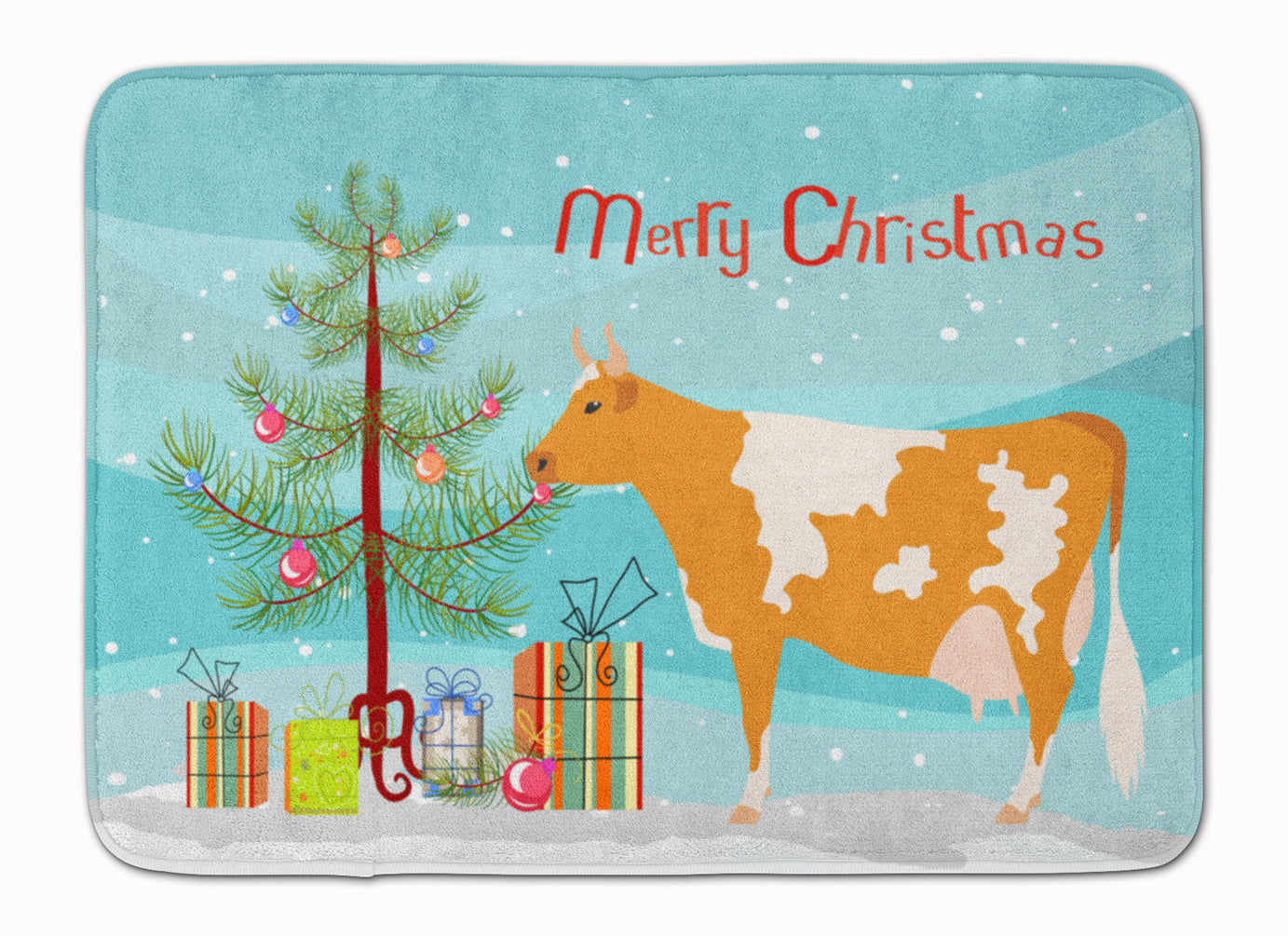 Guernsey Cow Christmas Machine Washable Memory Foam Mat BB9188RUG by Caroline's Treasures