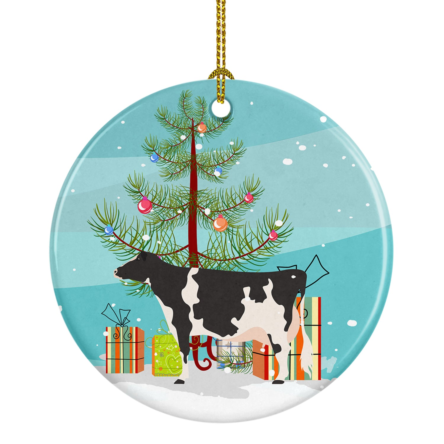 Holstein Cow Christmas Ceramic Ornament BB9189CO1 by Caroline's Treasures