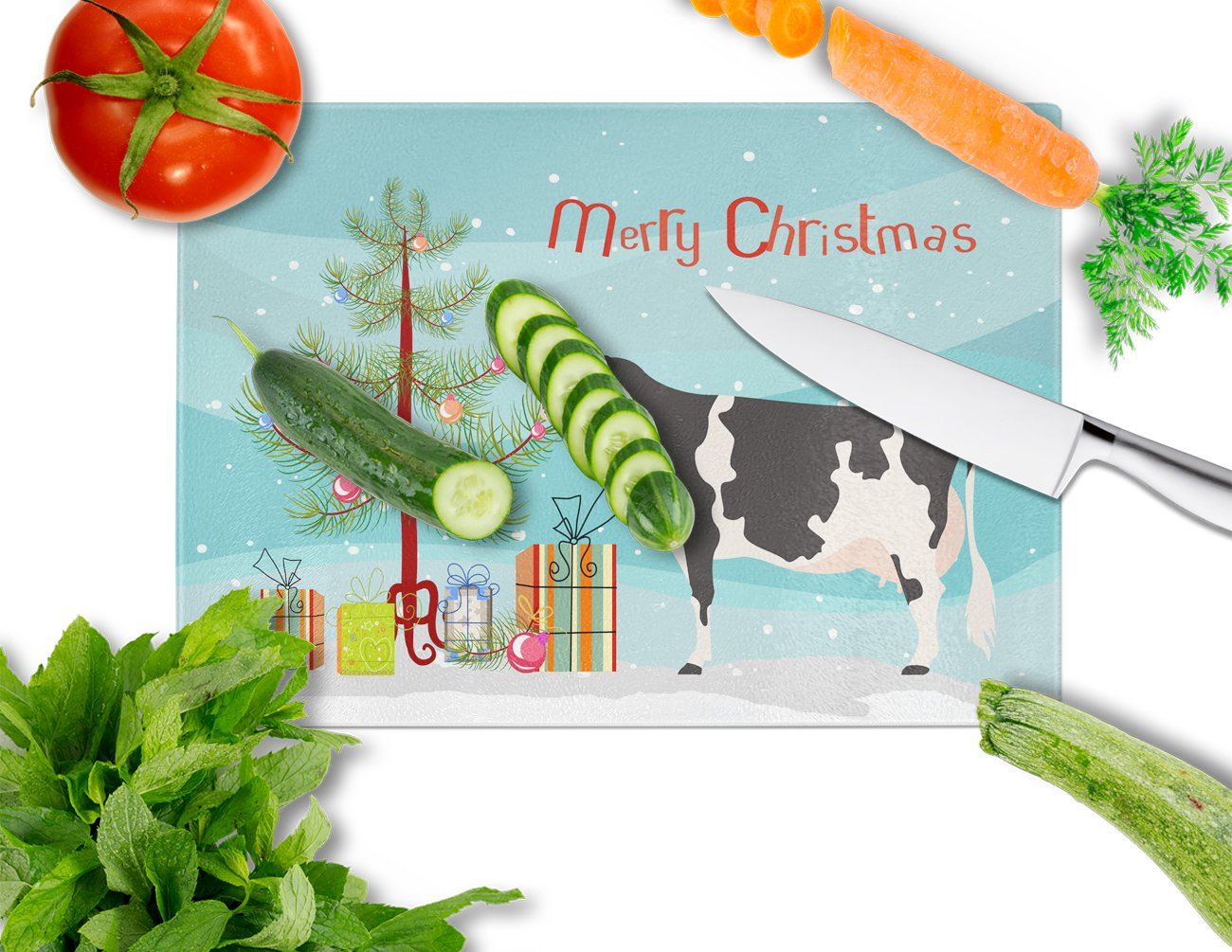 Holstein Cow Christmas Glass Cutting Board Large BB9189LCB by Caroline's Treasures