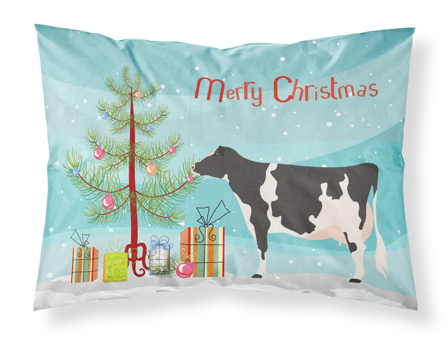 Holstein Cow Christmas Fabric Standard Pillowcase BB9189PILLOWCASE by Caroline's Treasures