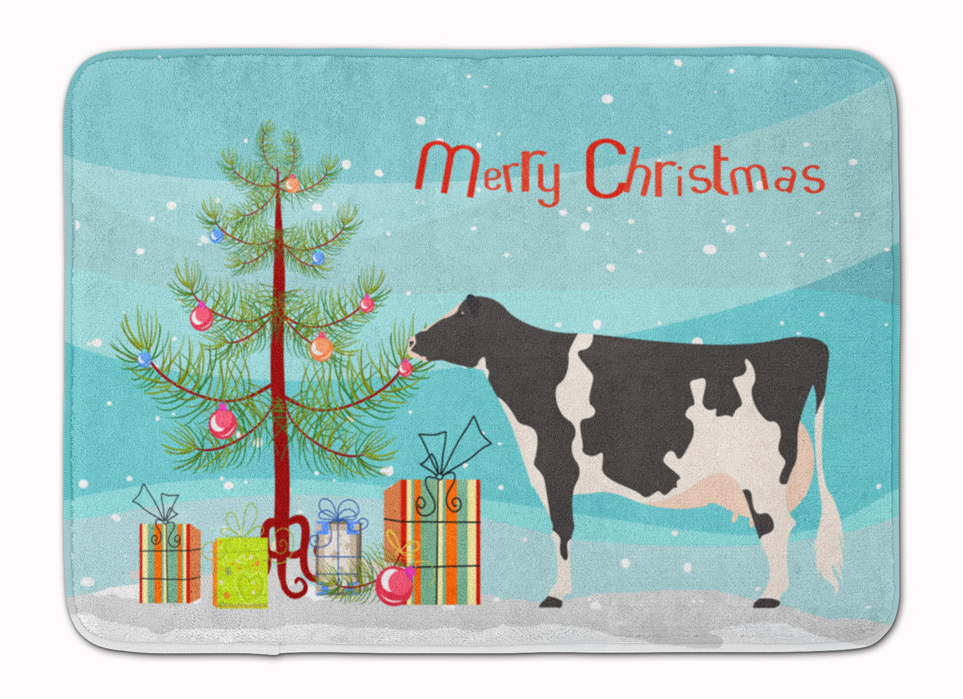 Holstein Cow Christmas Machine Washable Memory Foam Mat BB9189RUG by Caroline's Treasures