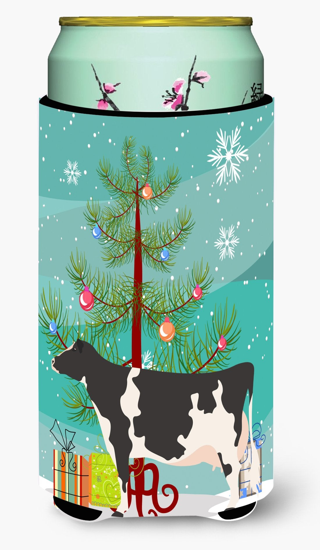 Holstein Cow Christmas Tall Boy Beverage Insulator Hugger BB9189TBC by Caroline's Treasures
