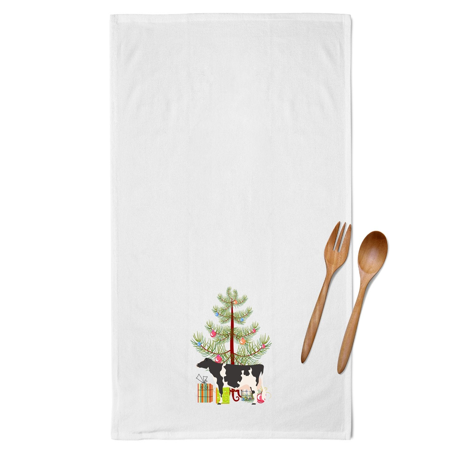 Holstein Cow Christmas White Kitchen Towel Set of 2 BB9189WTKT by Caroline's Treasures