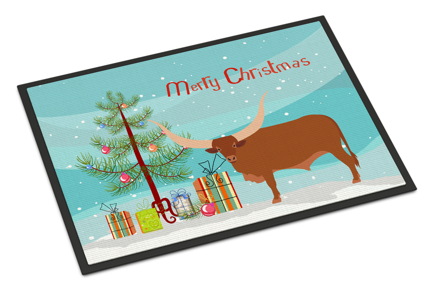 Ankole-Watusu Cow Christmas Indoor or Outdoor Mat 18x27 BB9190MAT by Caroline's Treasures