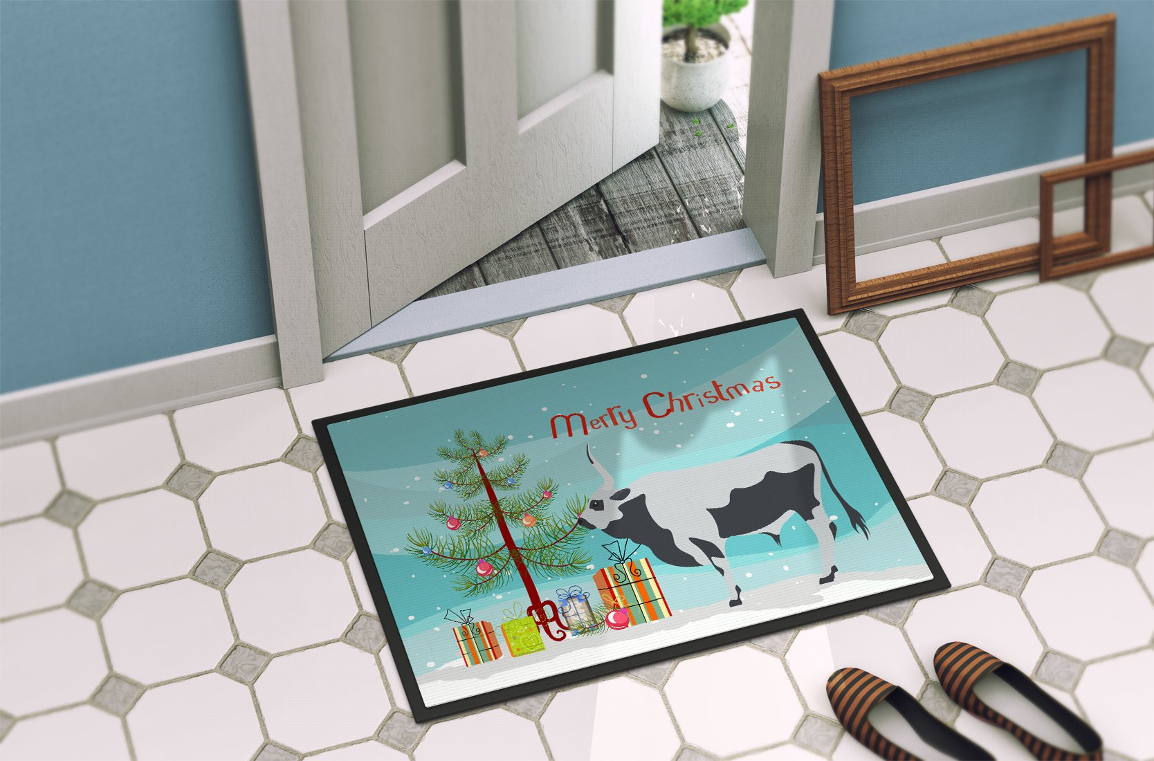 Hungarian Grey Steppe Cow Christmas Indoor or Outdoor Mat 24x36 BB9191JMAT by Caroline's Treasures