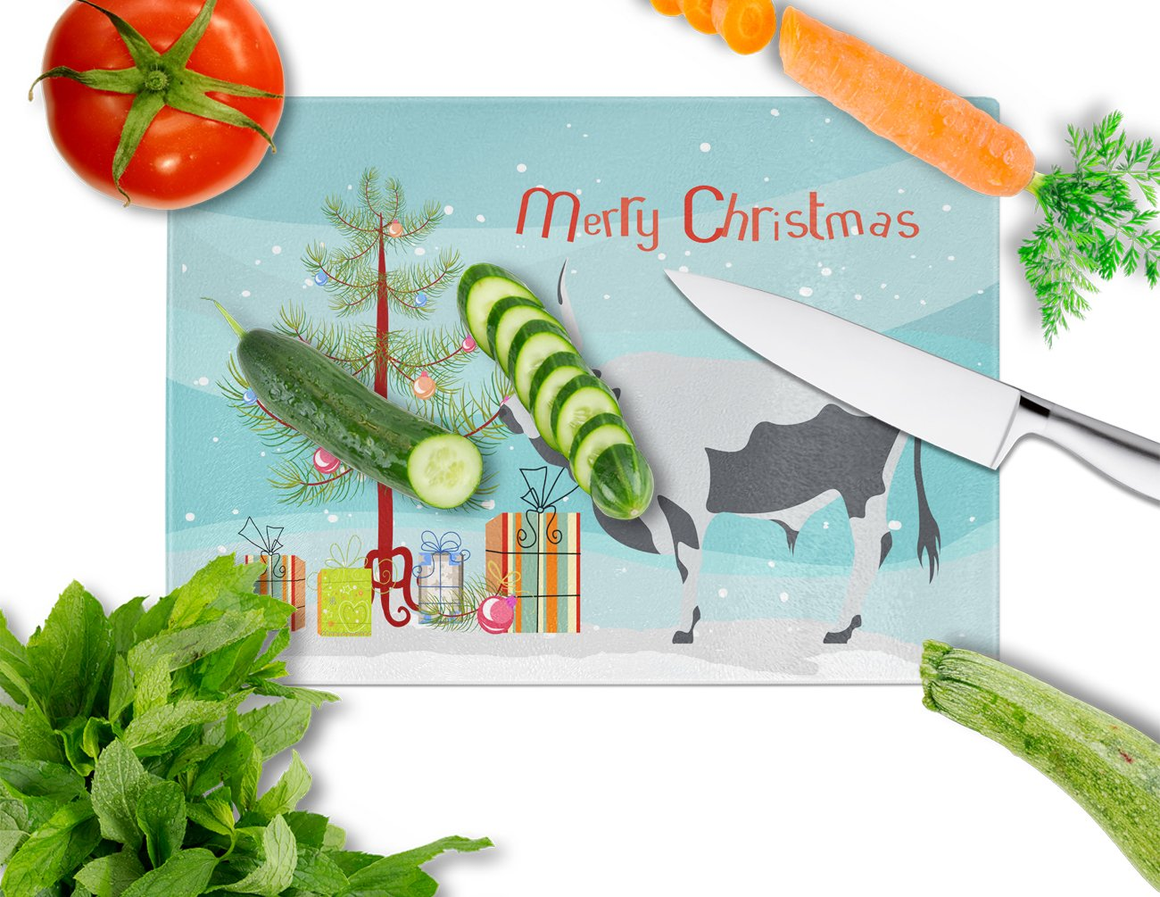 Hungarian Grey Steppe Cow Christmas Glass Cutting Board Large BB9191LCB by Caroline's Treasures