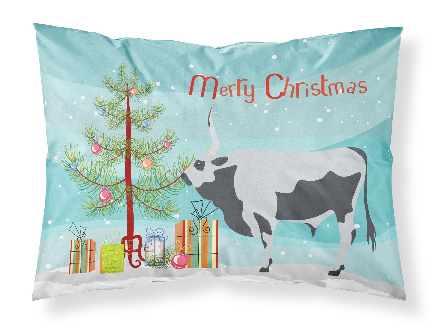 Hungarian Grey Steppe Cow Christmas Fabric Standard Pillowcase BB9191PILLOWCASE by Caroline's Treasures