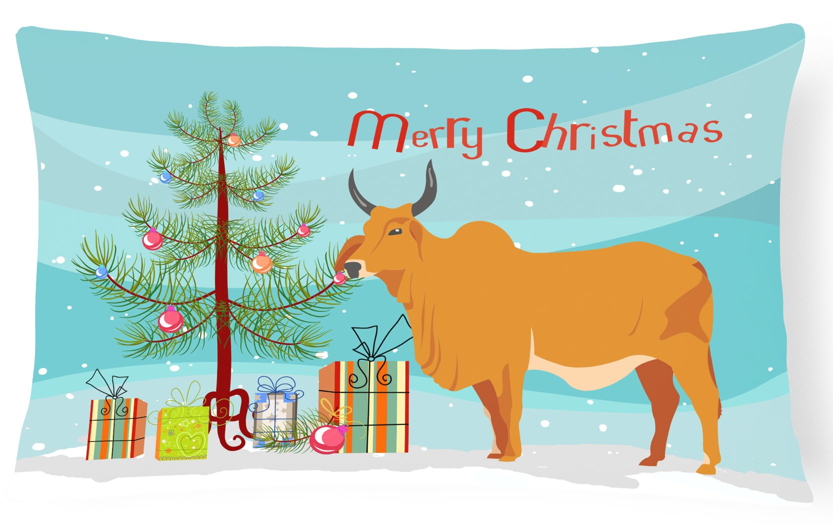 Buy this Zebu Indicine Cow Christmas Canvas Fabric Decorative Pillow BB9192PW1216