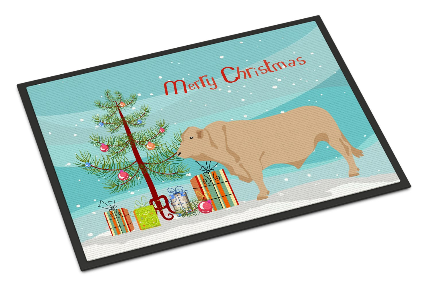 Buy this Charolais Cow Christmas Indoor or Outdoor Mat 24x36 BB9193JMAT