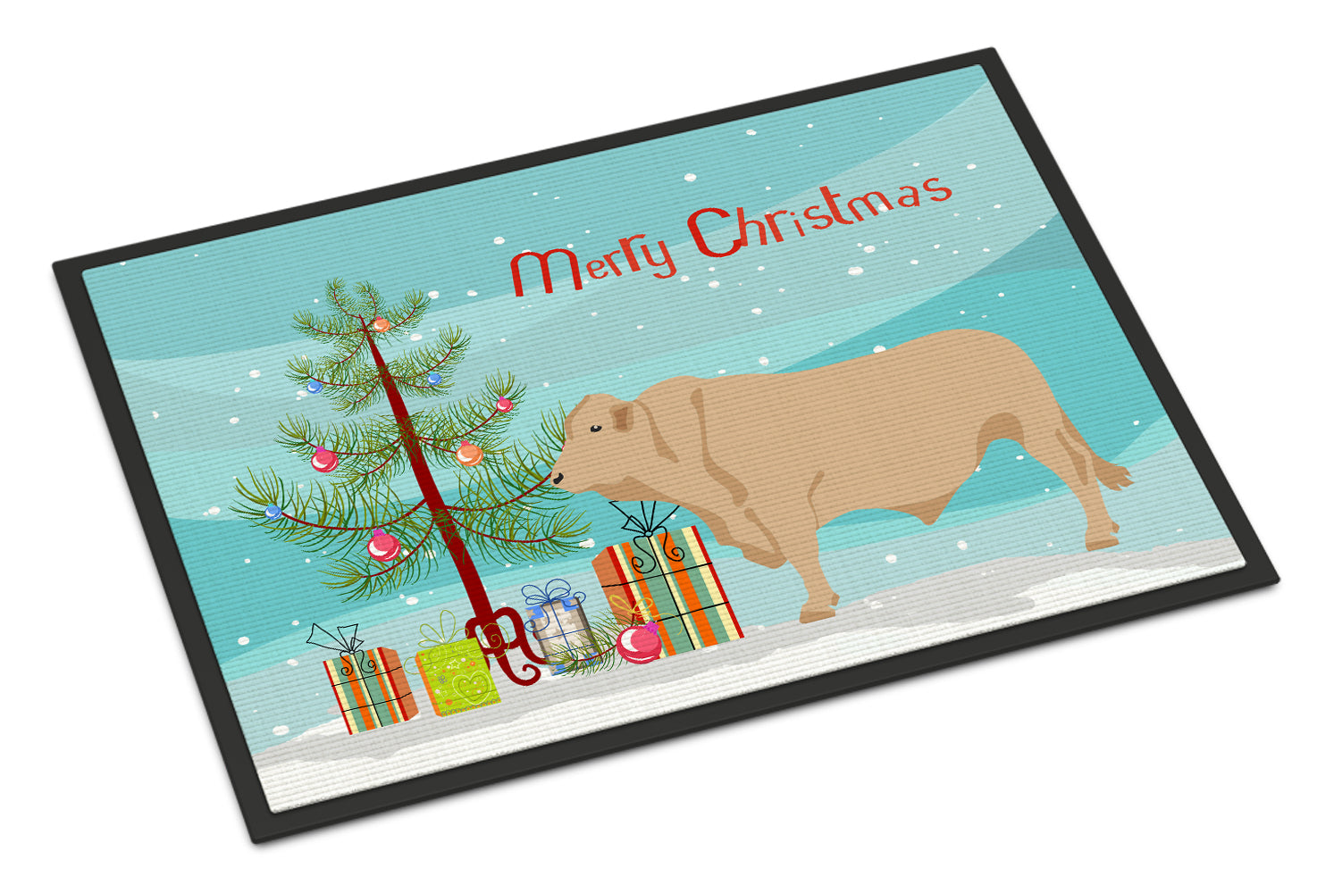 Buy this Charolais Cow Christmas Indoor or Outdoor Mat 18x27 BB9193MAT