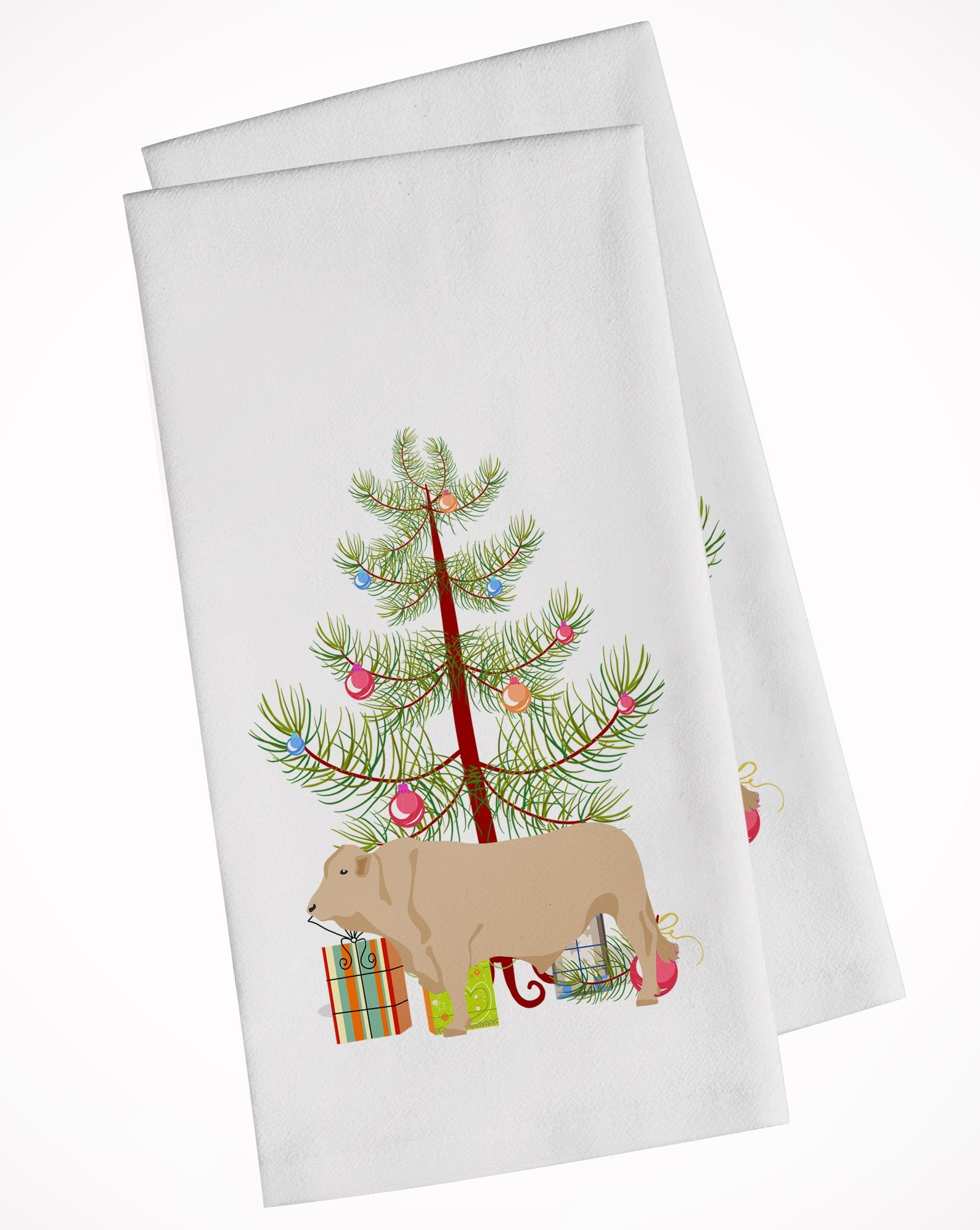 Buy this Charolais Cow Christmas White Kitchen Towel Set of 2 BB9193WTKT
