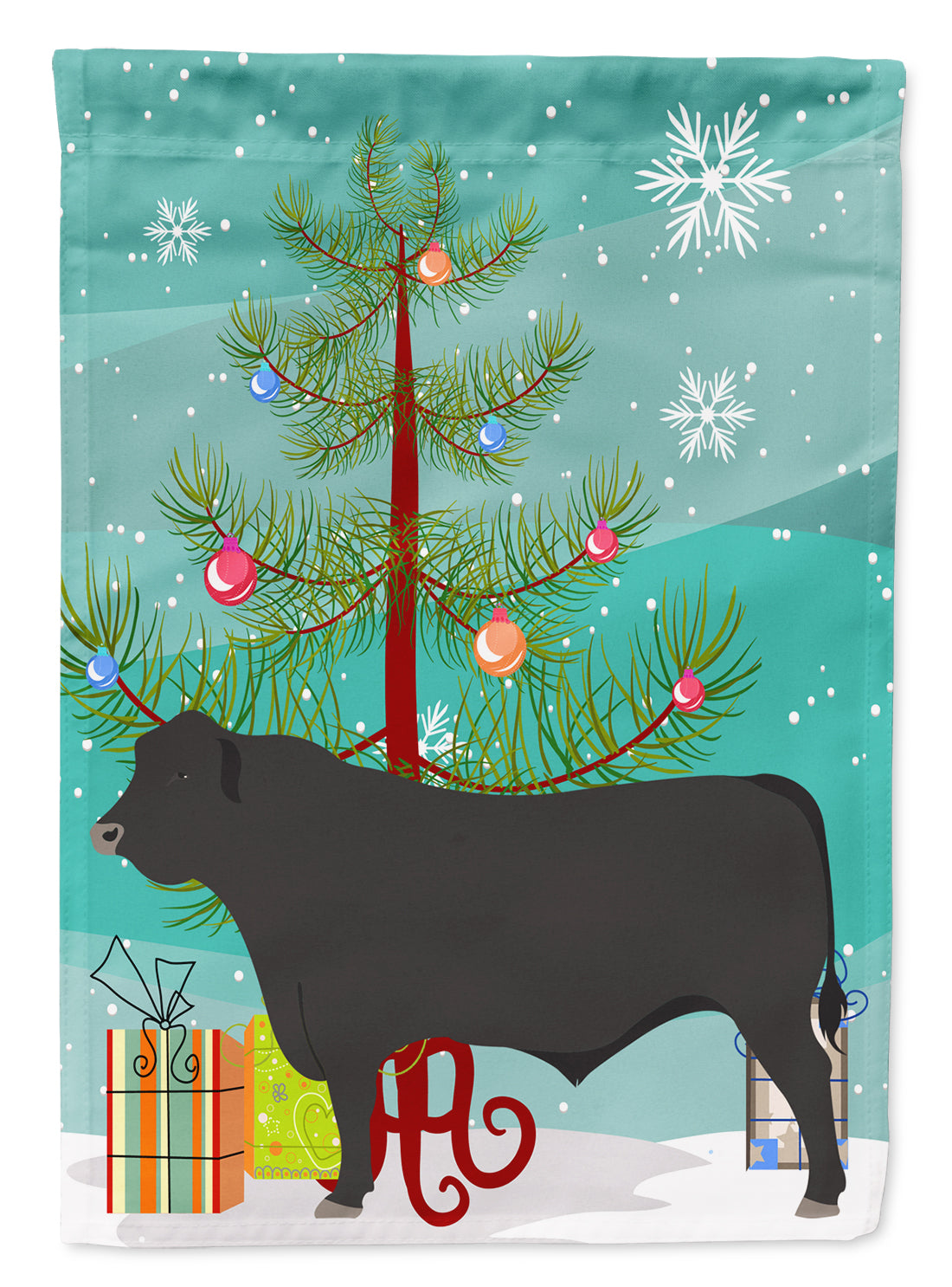 Black Angus Cow Christmas Flag Canvas House Size BB9195CHF by Caroline's Treasures