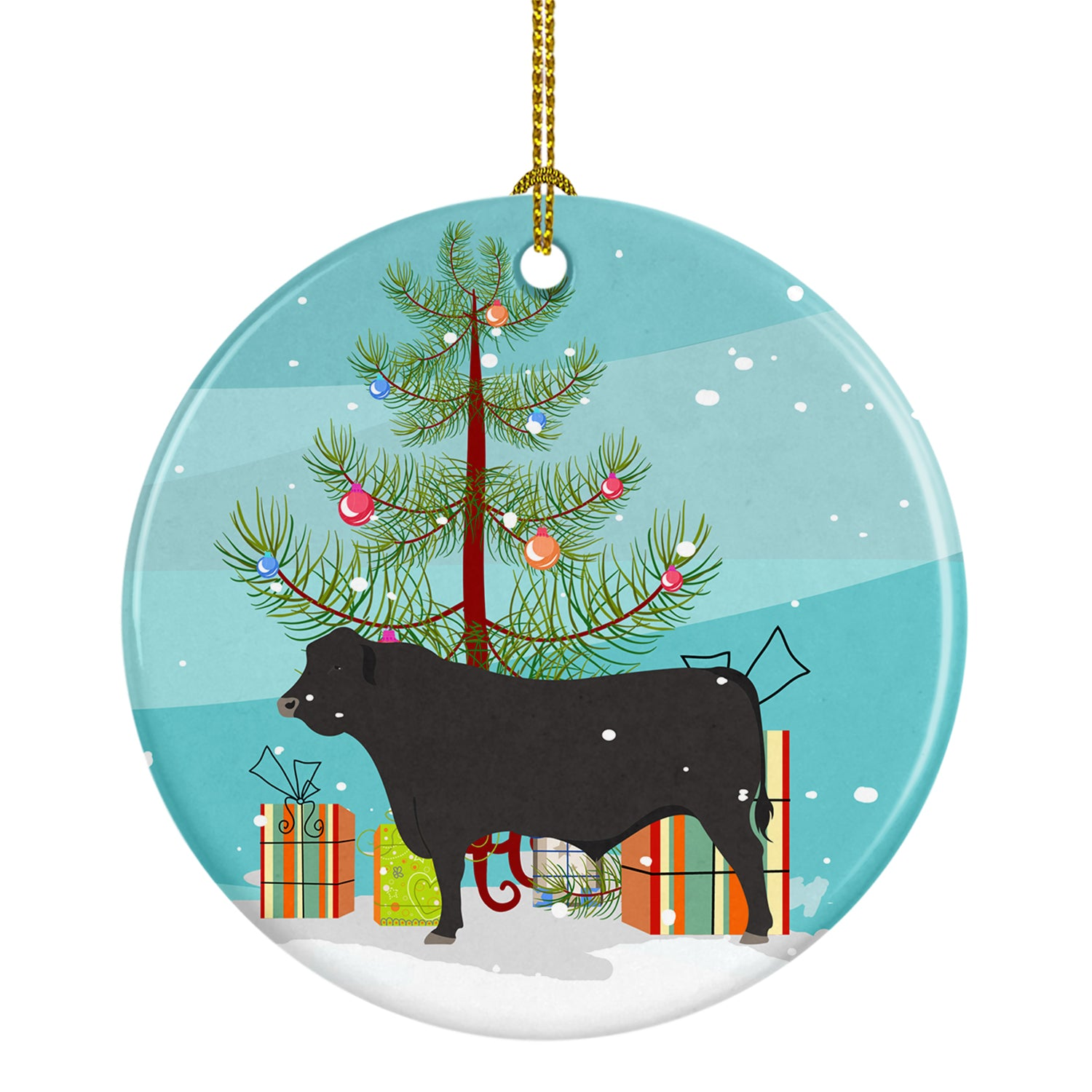 Black Angus Cow Christmas Ceramic Ornament BB9195CO1 by Caroline's Treasures