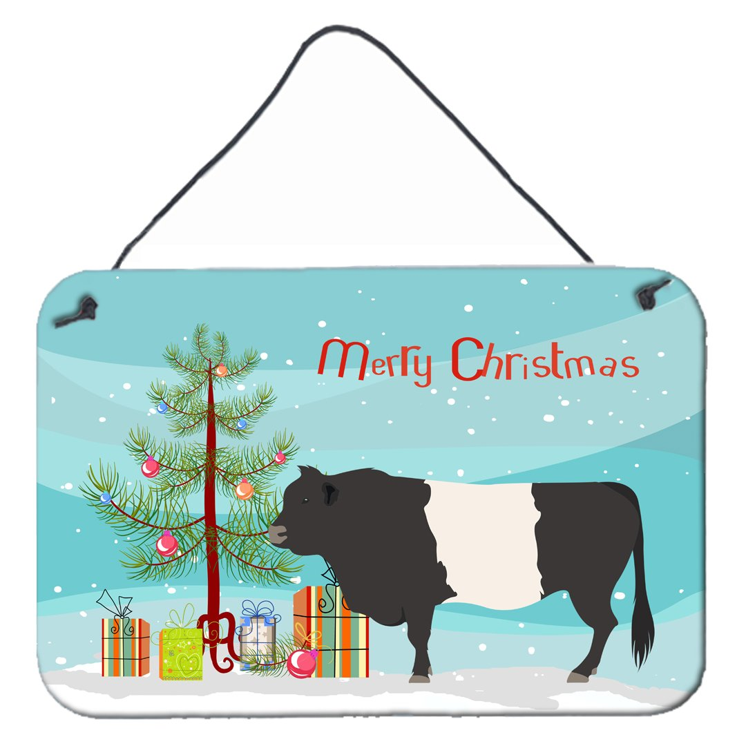 Belted Galloway Cow Christmas Wall or Door Hanging Prints BB9198DS812 by Caroline's Treasures