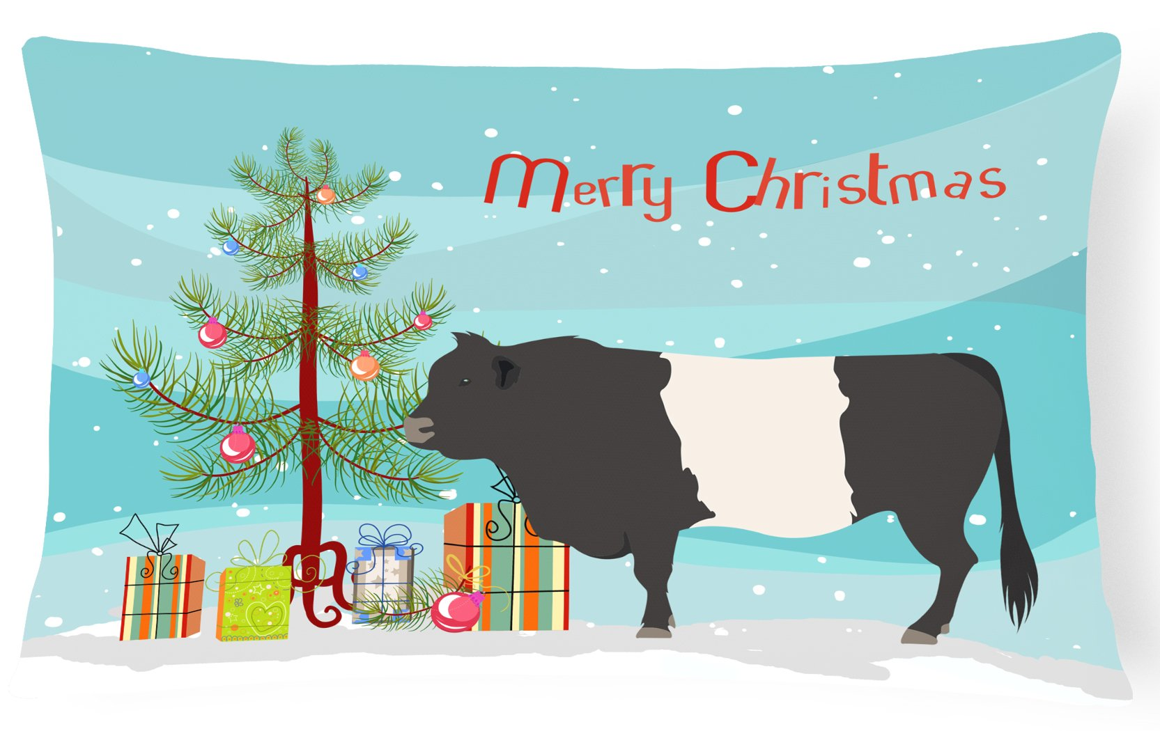 Belted Galloway Cow Christmas Canvas Fabric Decorative Pillow BB9198PW1216 by Caroline's Treasures