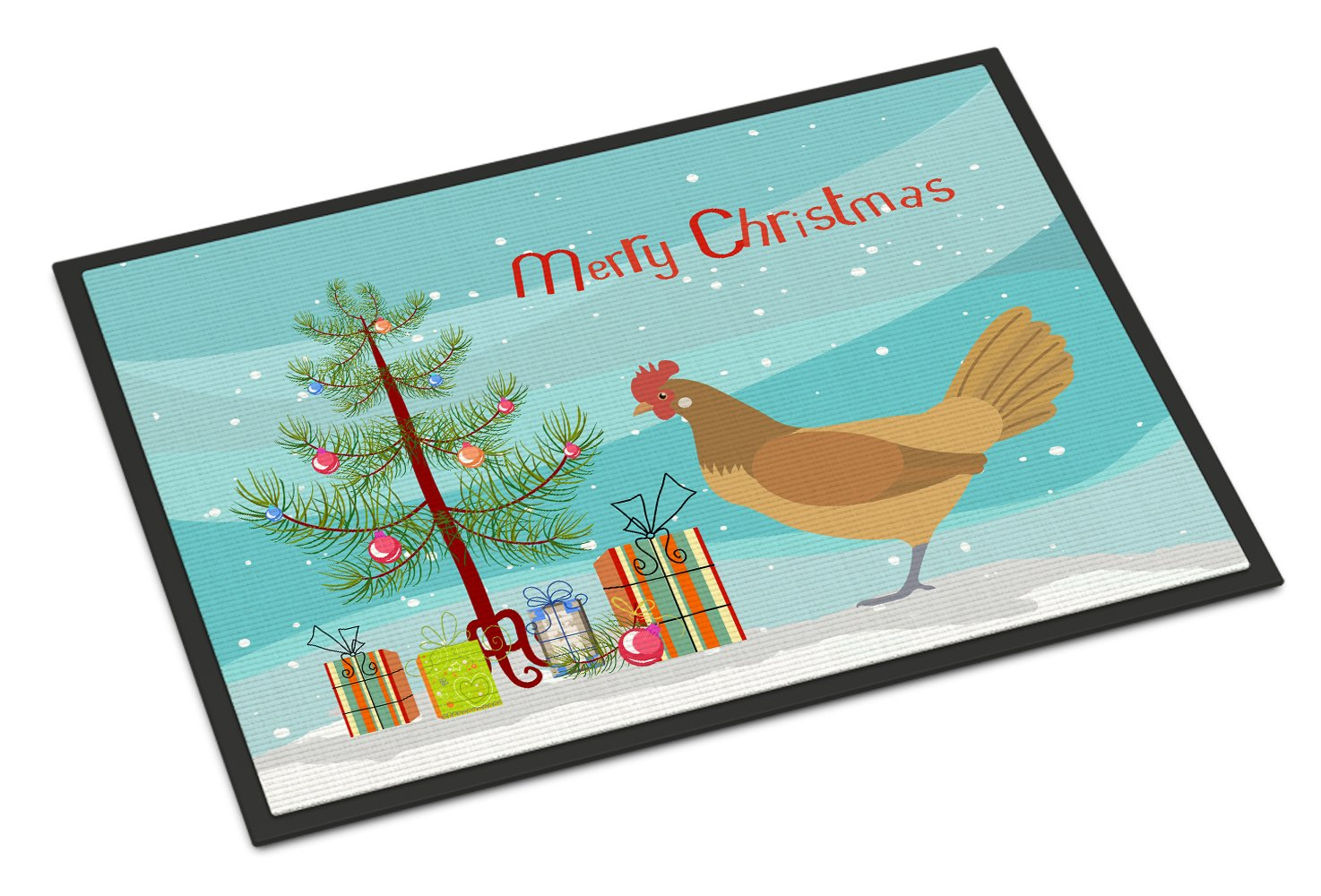 Frisian Friesian Chicken Christmas Indoor or Outdoor Mat 24x36 BB9199JMAT by Caroline's Treasures
