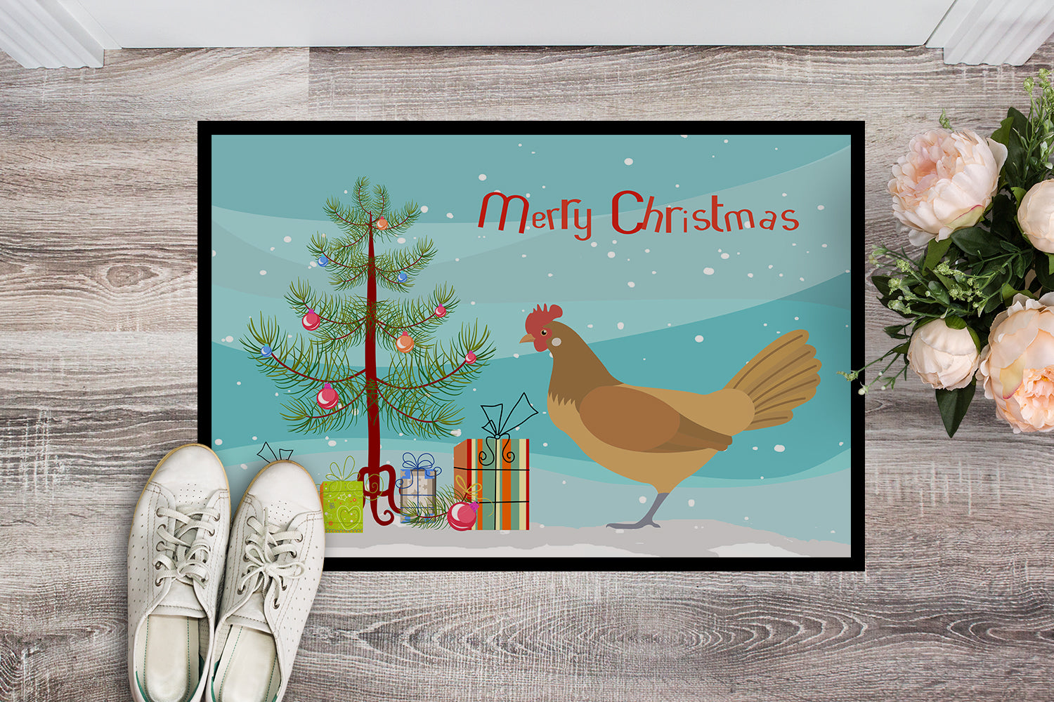 Frisian Friesian Chicken Christmas Indoor or Outdoor Mat 18x27 BB9199MAT by Caroline's Treasures