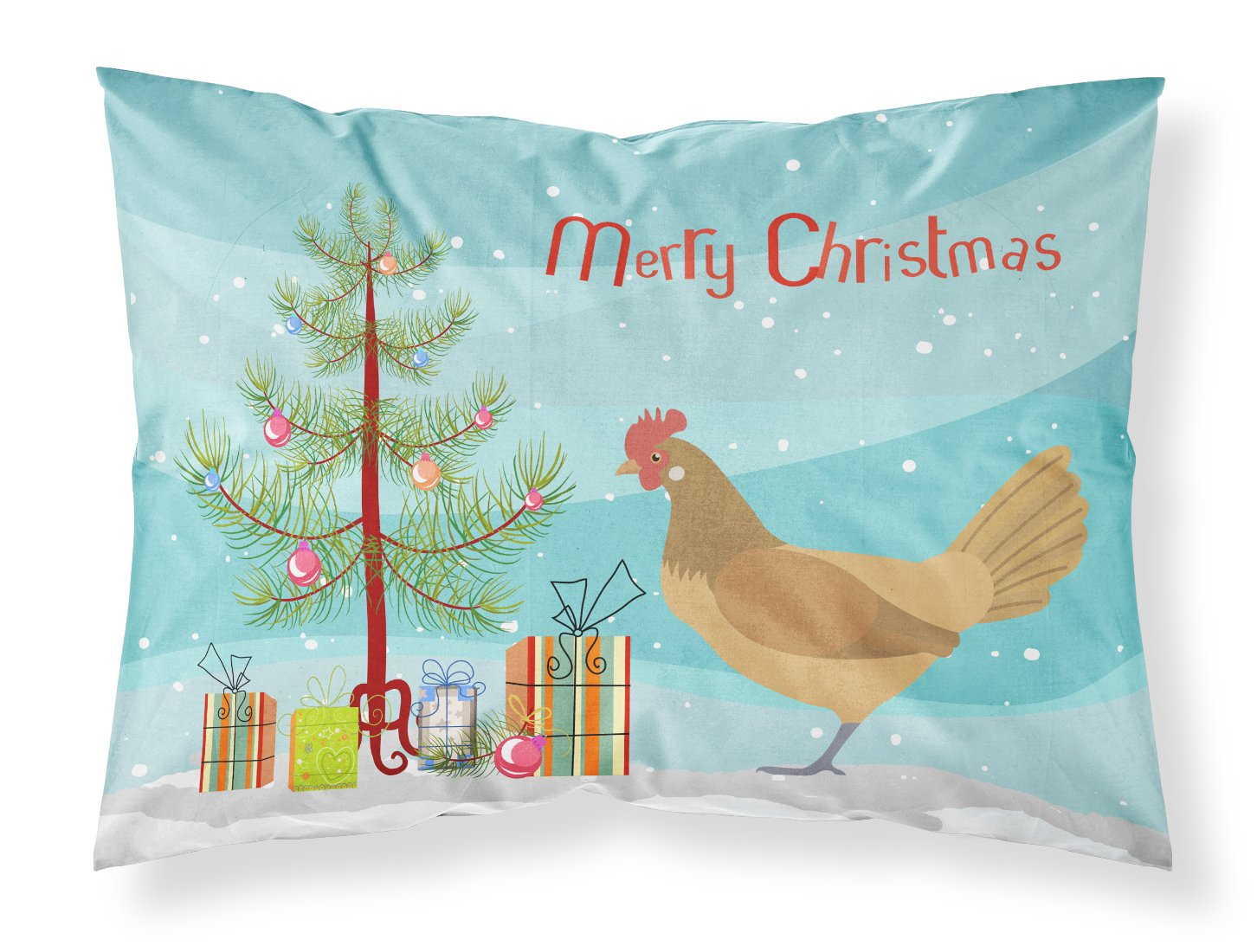 Frisian Friesian Chicken Christmas Fabric Standard Pillowcase BB9199PILLOWCASE by Caroline's Treasures