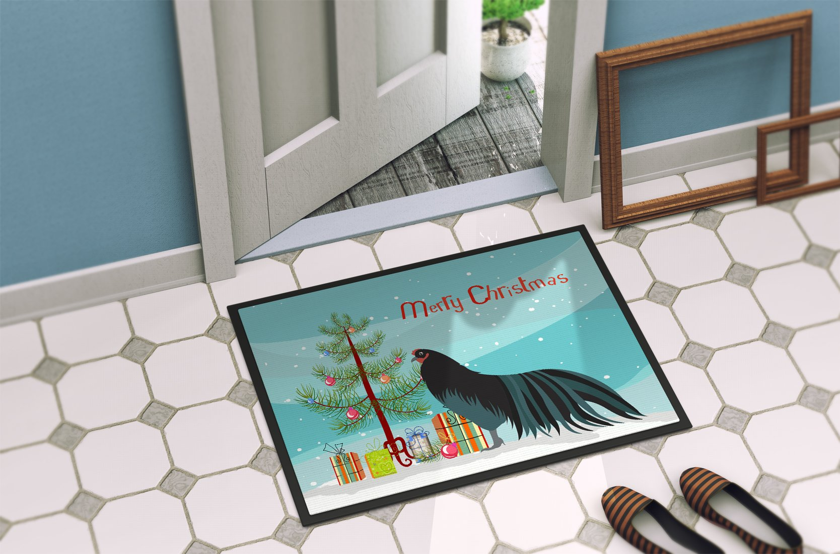 Sumatra Chicken Christmas Indoor or Outdoor Mat 24x36 BB9200JMAT by Caroline's Treasures