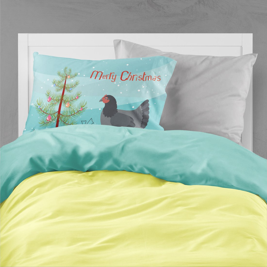 Jersey Giant Chicken Christmas Fabric Standard Pillowcase BB9202PILLOWCASE by Caroline's Treasures