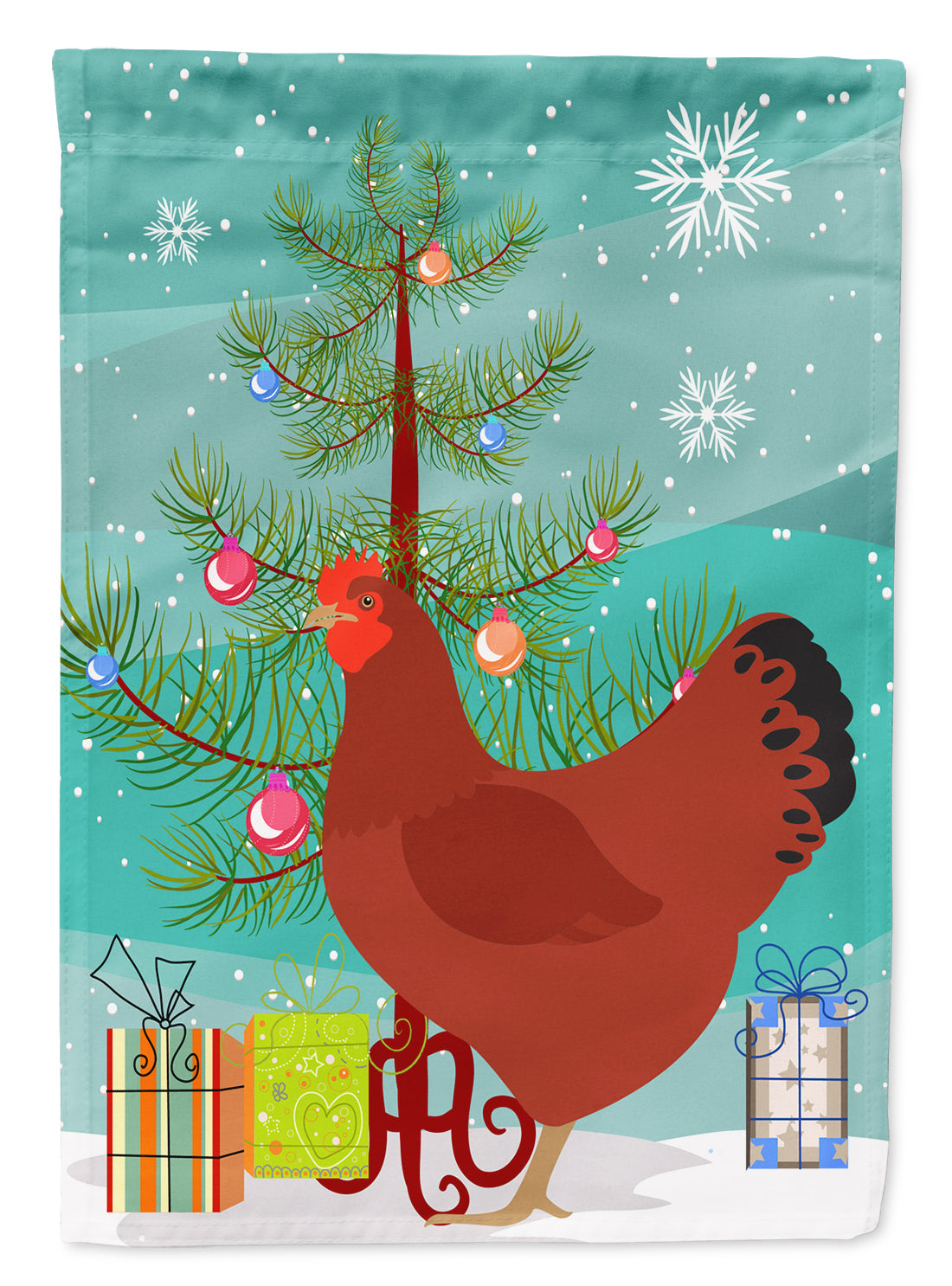 Buy this New Hampshire Red Chicken Christmas Flag Garden Size BB9210GF