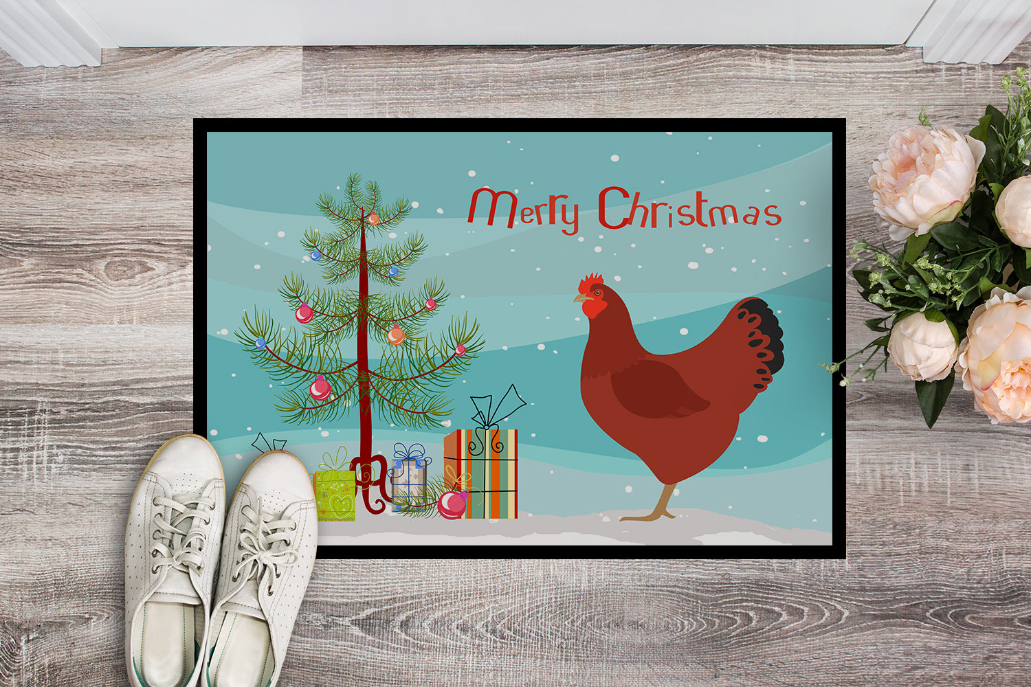 New Hampshire Red Chicken Christmas Indoor or Outdoor Mat 18x27 BB9210MAT by Caroline's Treasures