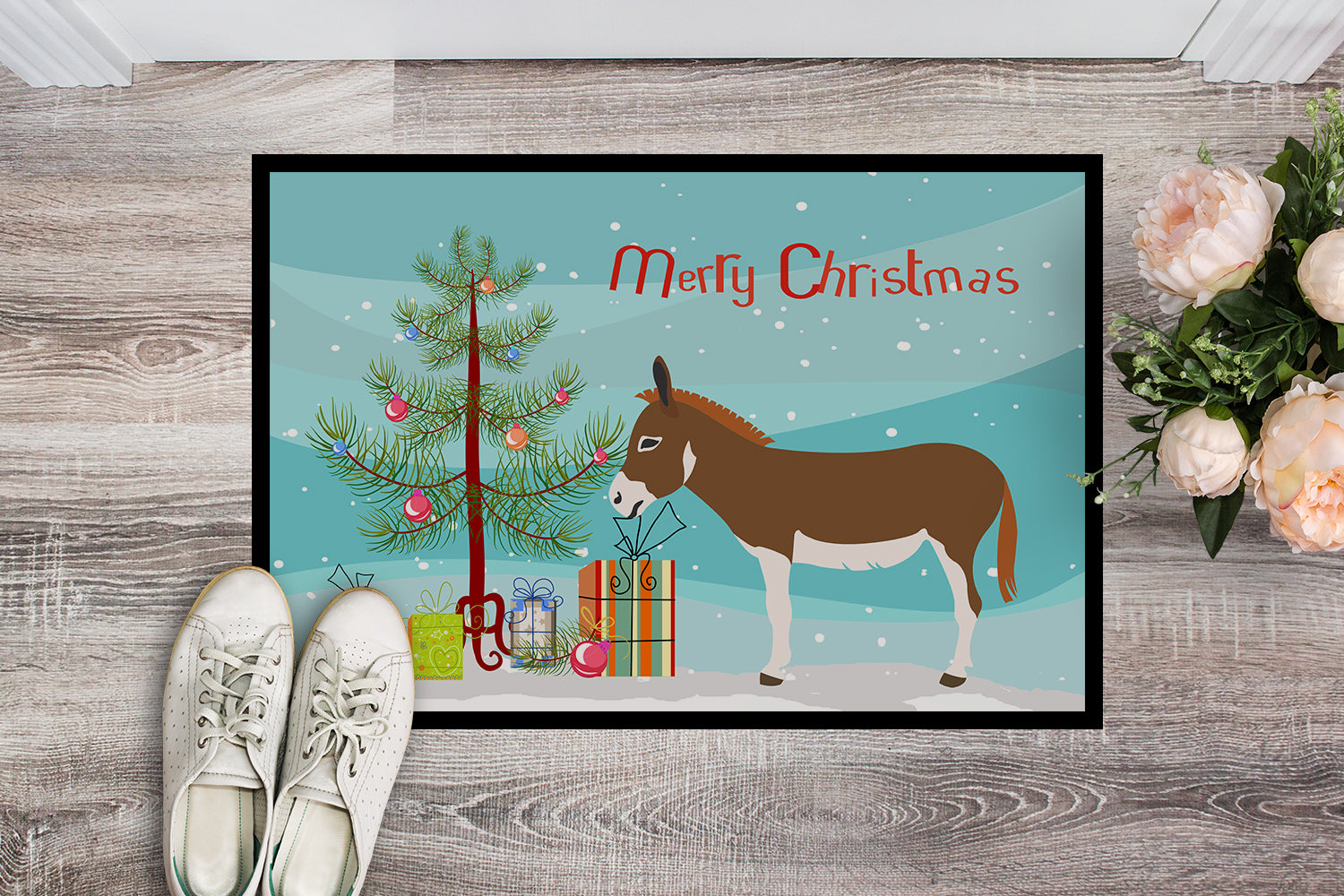 Miniature Mediterranian Donkey Christmas Indoor or Outdoor Mat 18x27 BB9214MAT by Caroline's Treasures