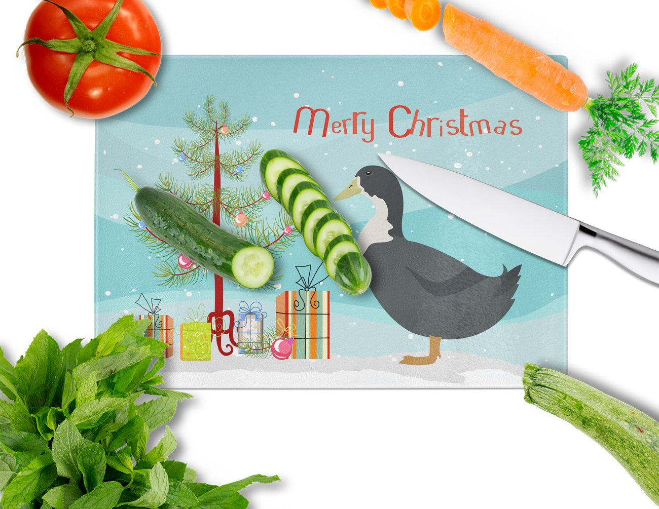 Blue Swedish Duck Christmas Glass Cutting Board Large BB9229LCB by Caroline's Treasures