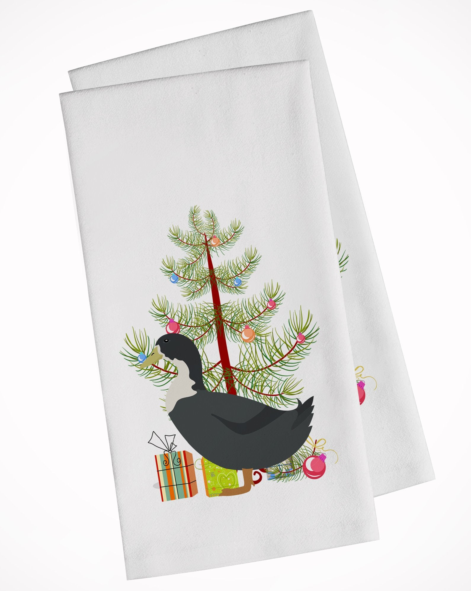 Blue Swedish Duck Christmas White Kitchen Towel Set of 2 BB9229WTKT by Caroline's Treasures