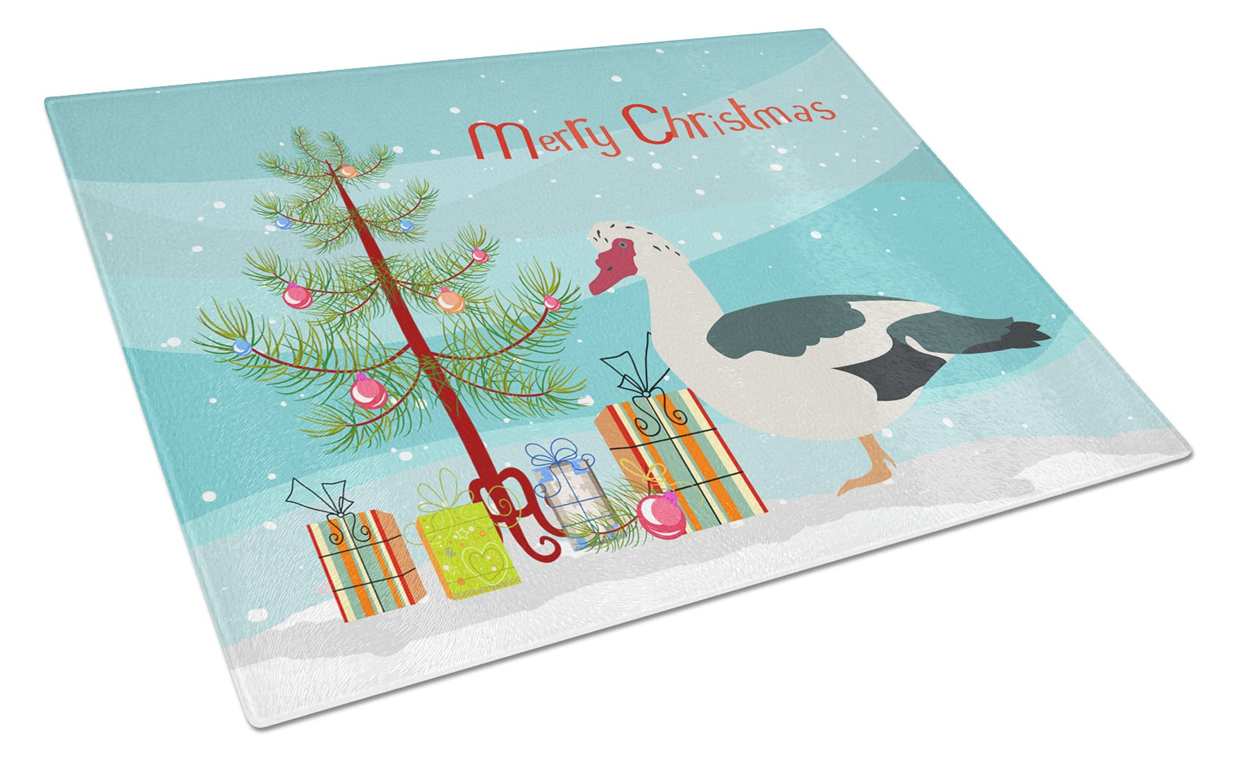Muscovy Duck Christmas Glass Cutting Board Large BB9231LCB by Caroline's Treasures