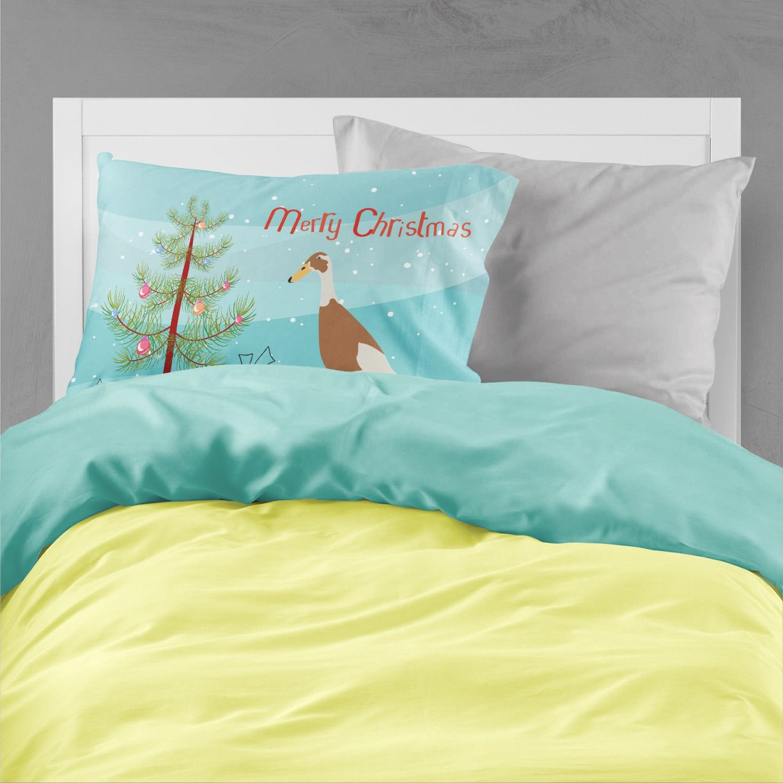 Indian Runner Duck Christmas Fabric Standard Pillowcase BB9232PILLOWCASE by Caroline's Treasures