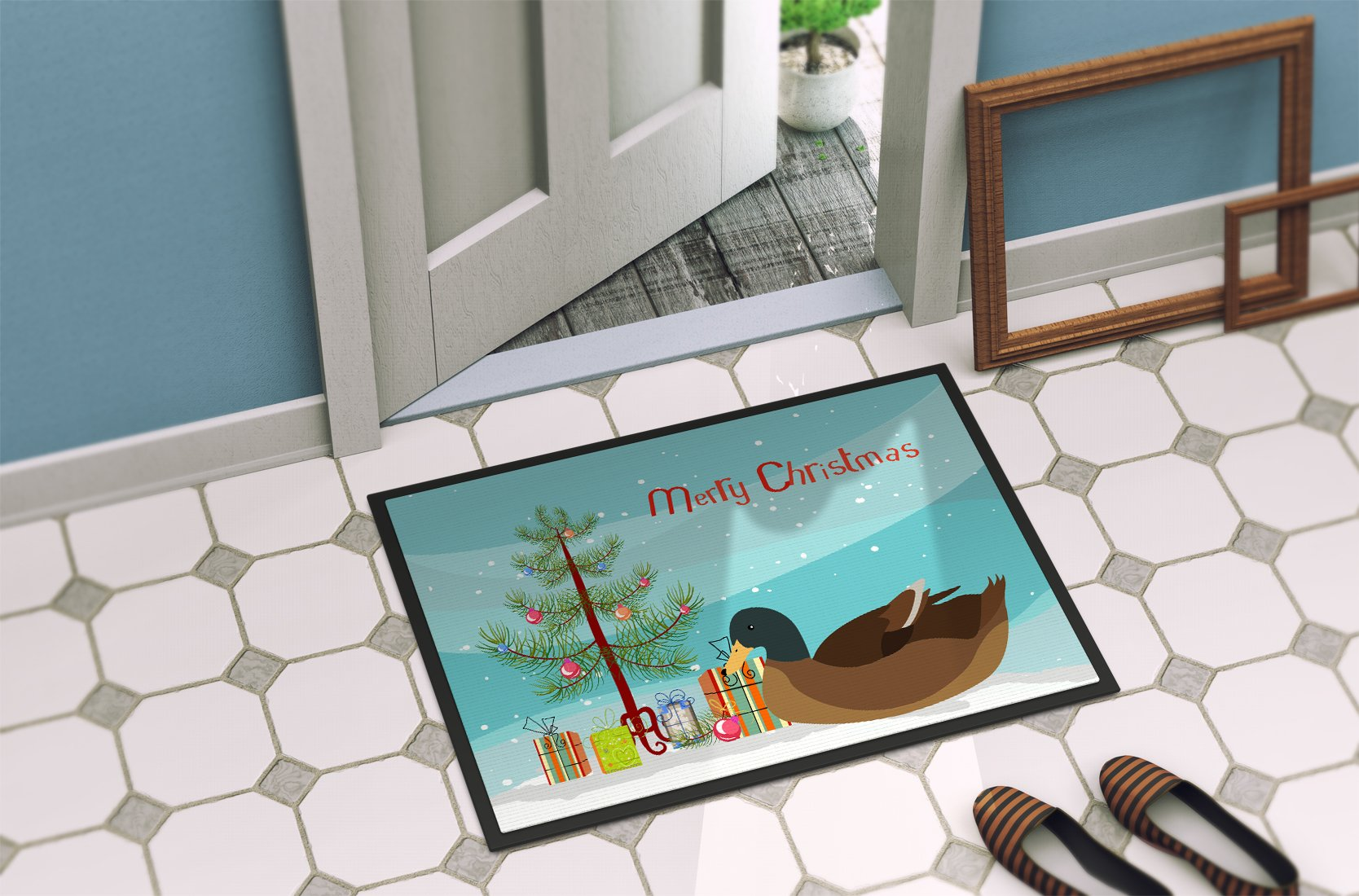 Khaki Campbell Duck Christmas Indoor or Outdoor Mat 24x36 BB9233JMAT by Caroline's Treasures