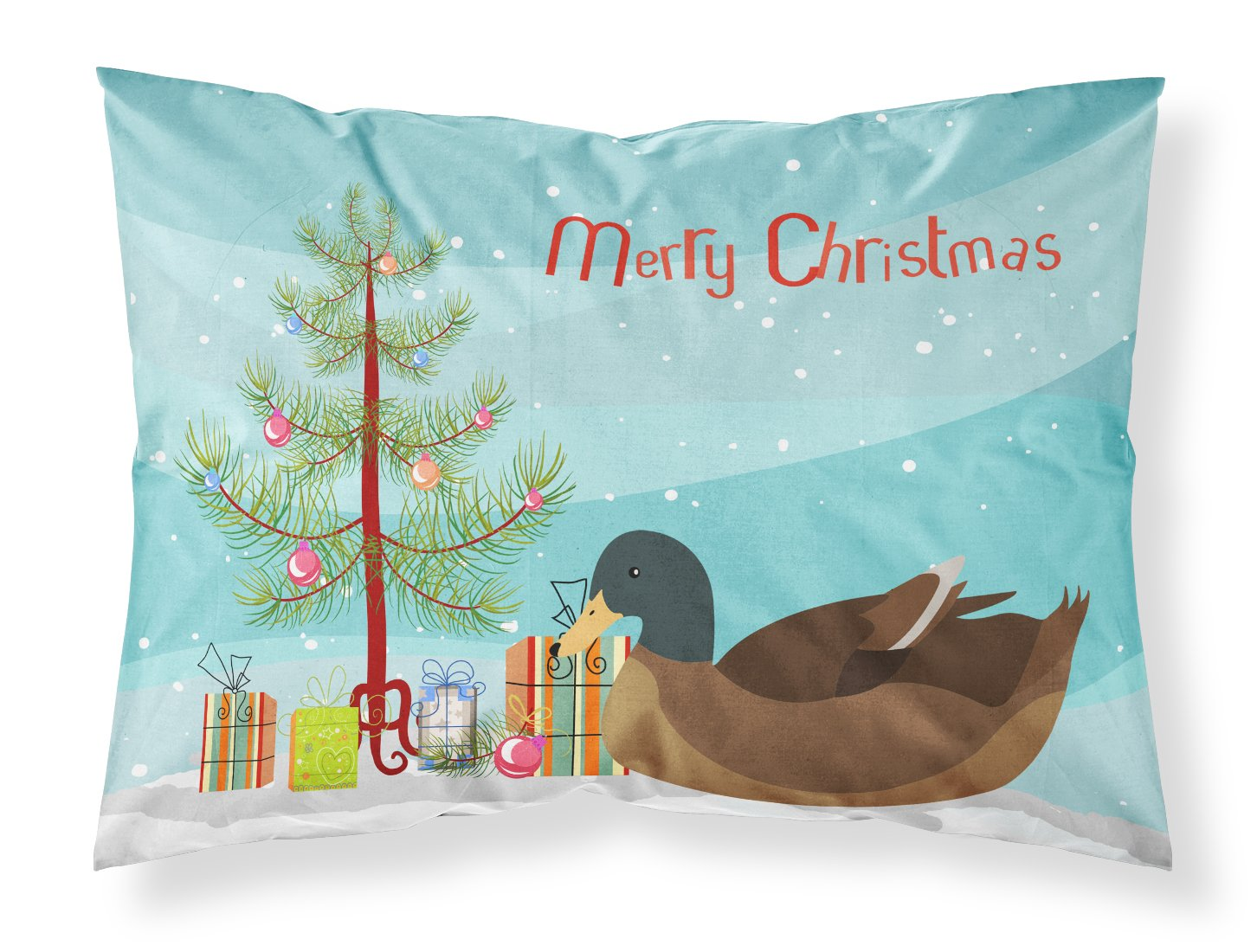Khaki Campbell Duck Christmas Fabric Standard Pillowcase BB9233PILLOWCASE by Caroline's Treasures