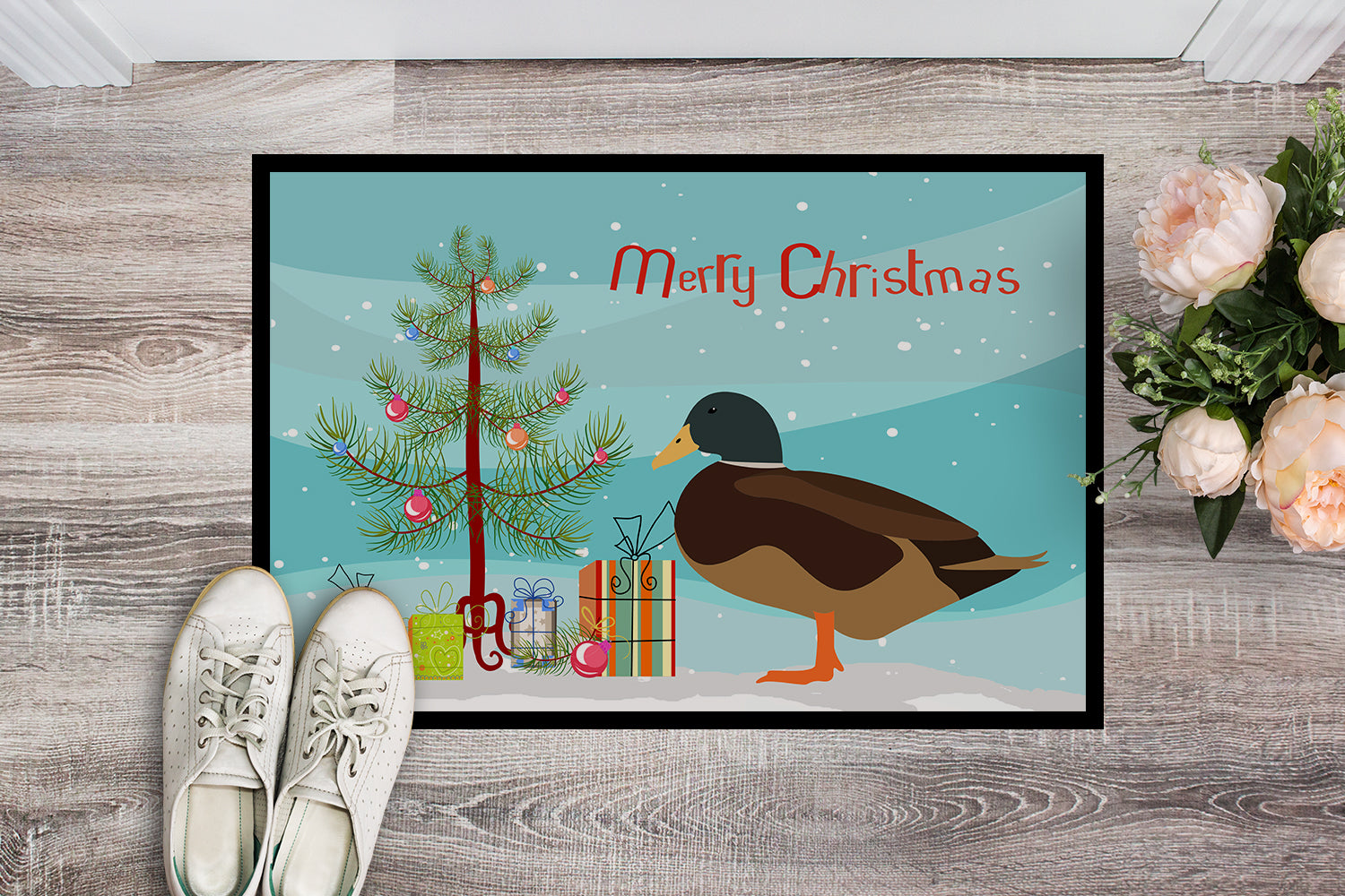 Silver Bantam Duck Christmas Indoor or Outdoor Mat 18x27 BB9234MAT by Caroline's Treasures