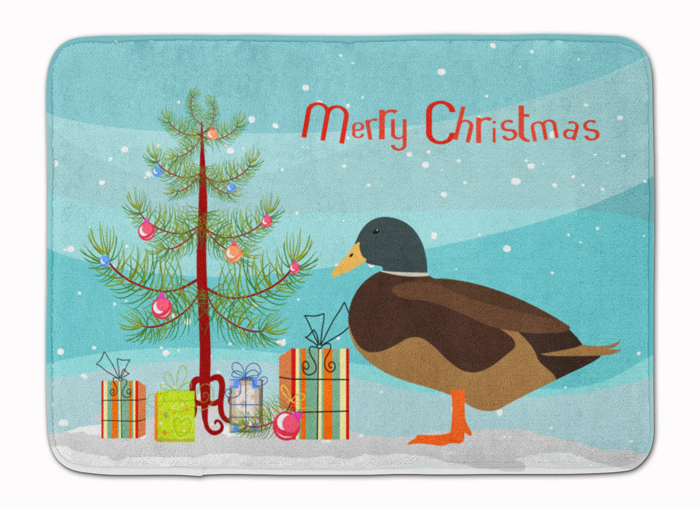 Silver Bantam Duck Christmas Machine Washable Memory Foam Mat BB9234RUG by Caroline's Treasures