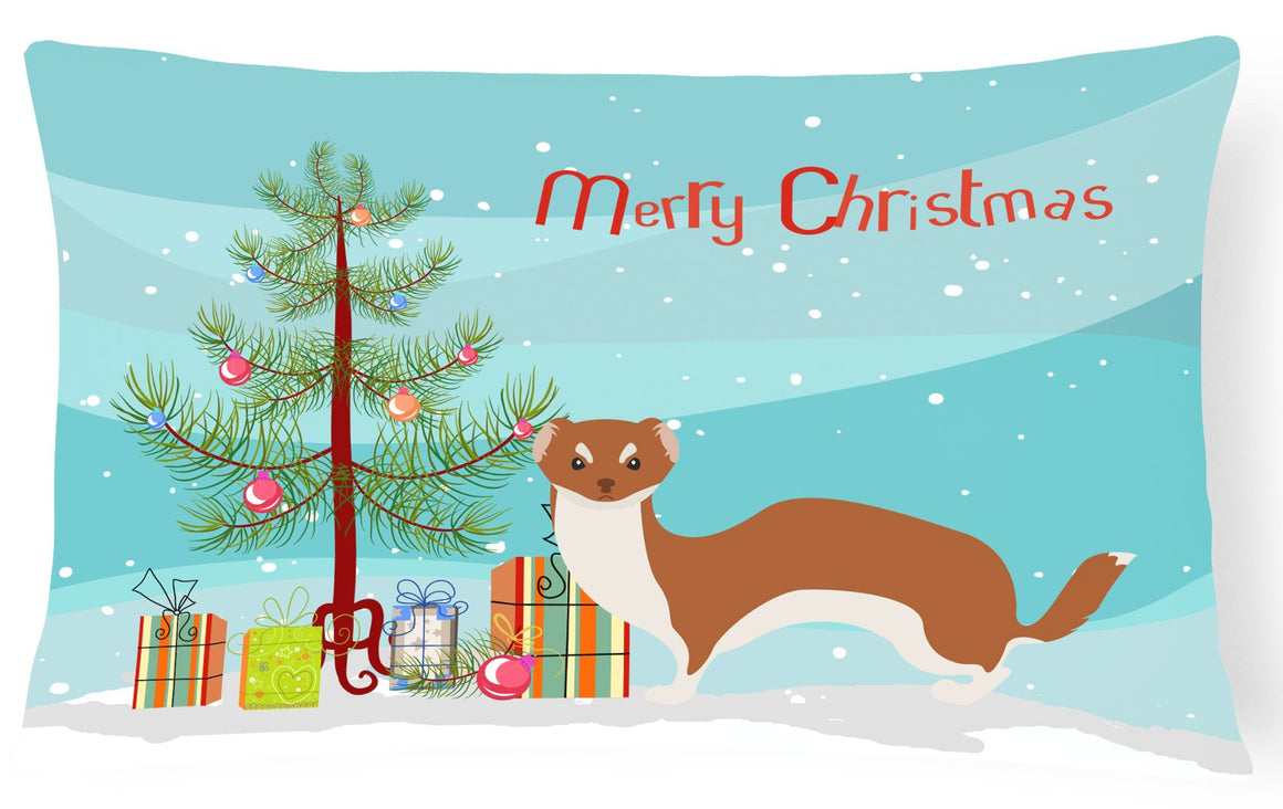 Buy this Weasel Christmas Canvas Fabric Decorative Pillow BB9237PW1216