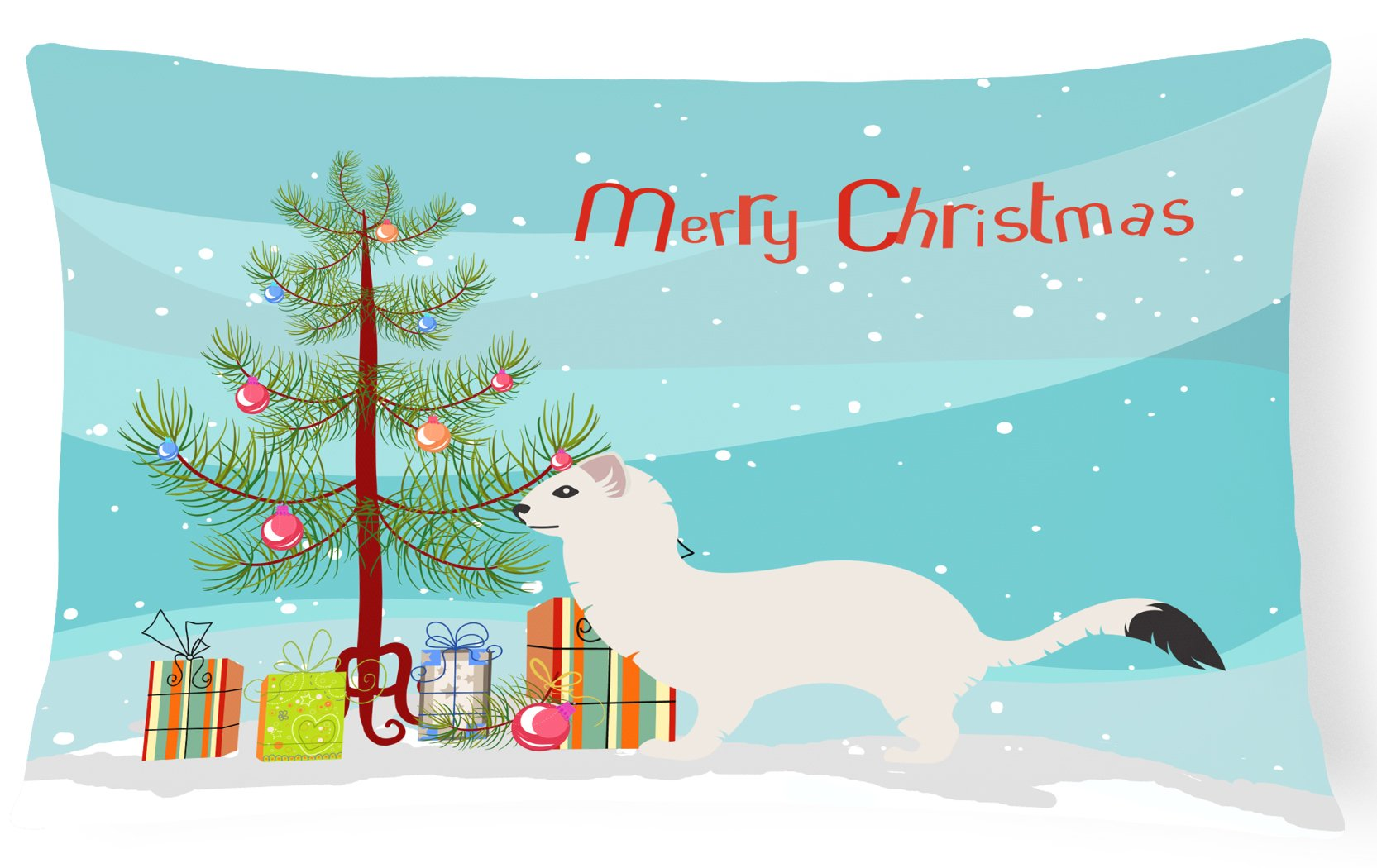 Buy this Stoat Short-tailed Weasel Christmas Canvas Fabric Decorative Pillow BB9239PW1216