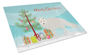 Buy this White Arctic Fox Christmas Glass Cutting Board Large BB9244LCB