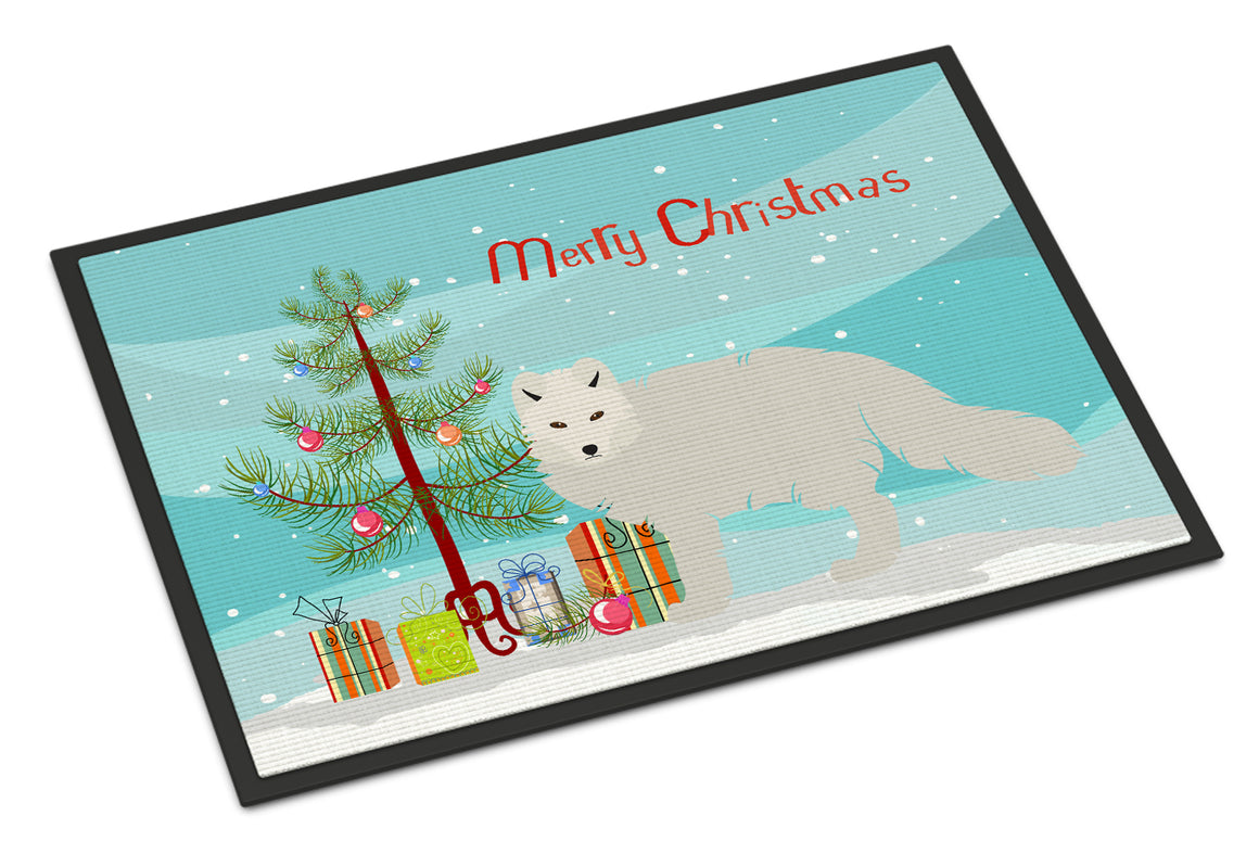 Buy this White Arctic Fox Christmas Indoor or Outdoor Mat 18x27 BB9244MAT