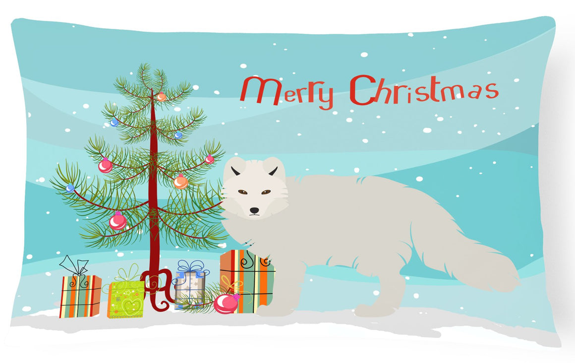 Buy this White Arctic Fox Christmas Canvas Fabric Decorative Pillow BB9244PW1216