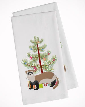 Buy this Ferret Christmas White Kitchen Towel Set of 2 BB9245WTKT