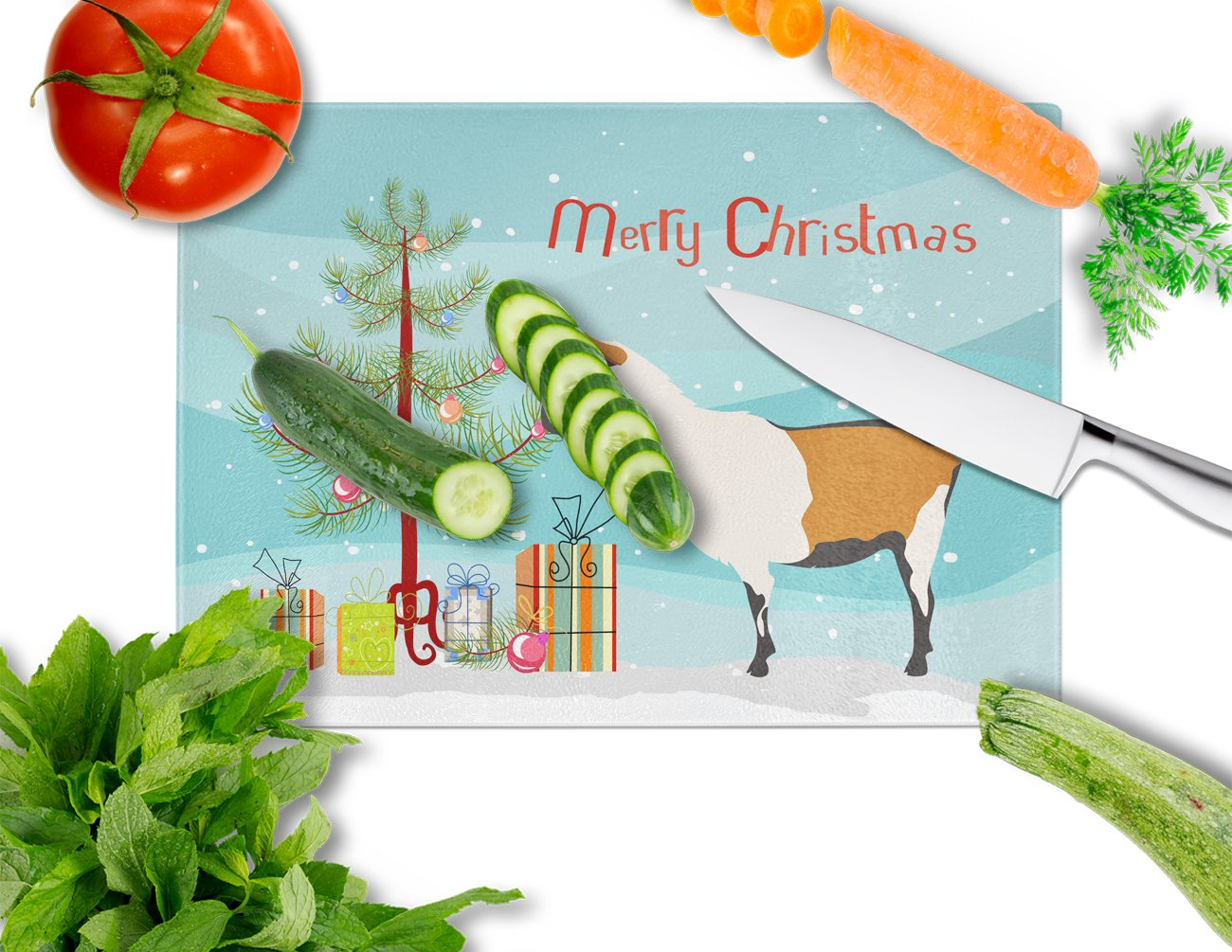 Alpine Goat Christmas Glass Cutting Board Large BB9247LCB by Caroline's Treasures