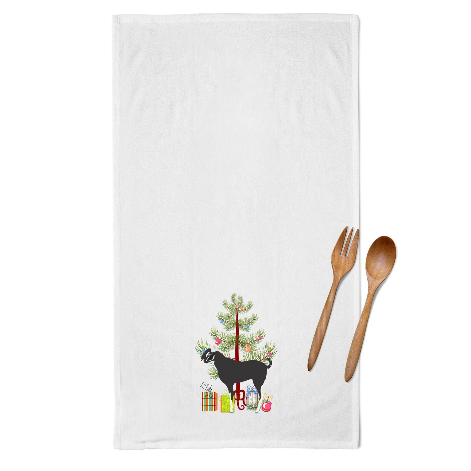 Buy this Black Bengal Goat Christmas White Kitchen Towel Set of 2 BB9251WTKT