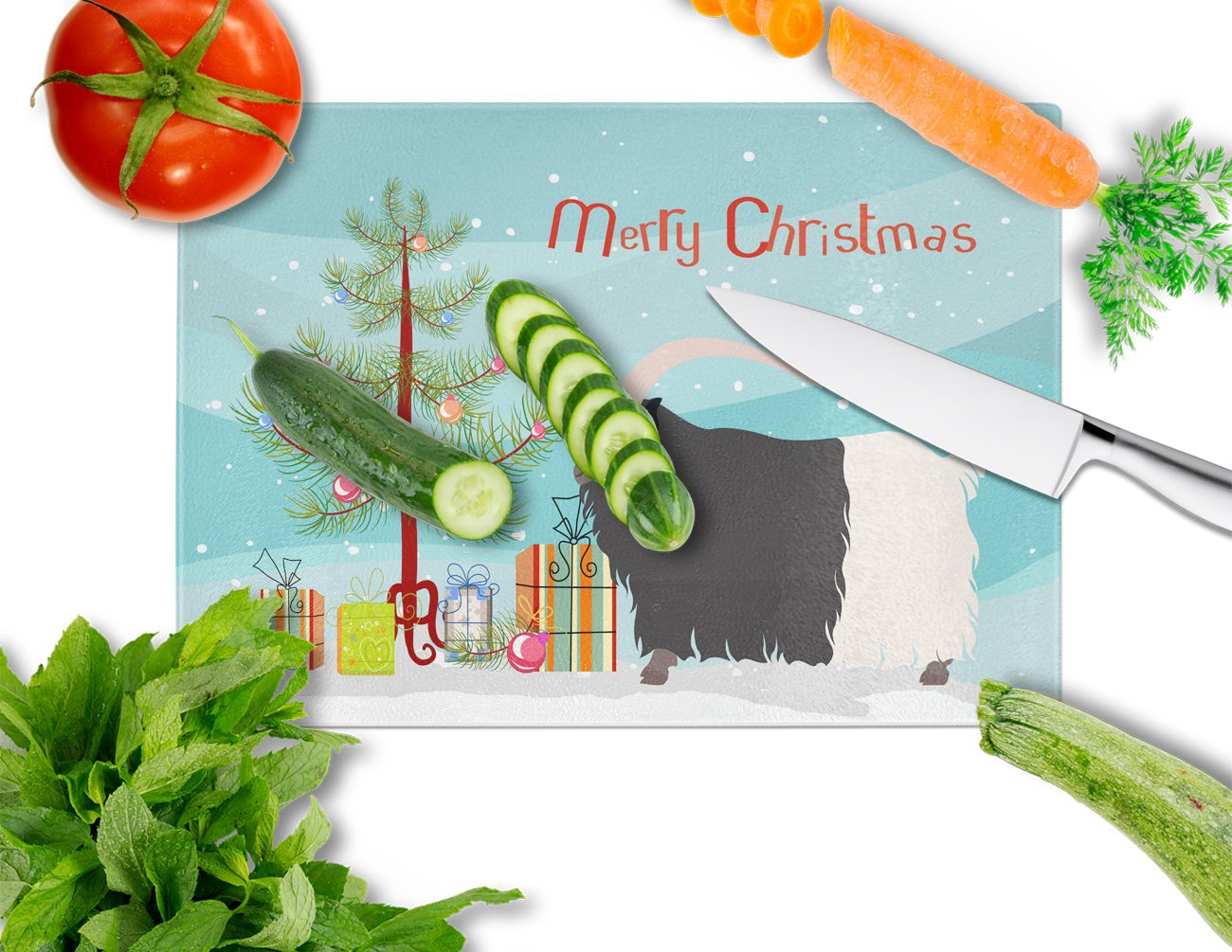 Welsh Black-Necked Goat Christmas Glass Cutting Board Large BB9254LCB by Caroline's Treasures